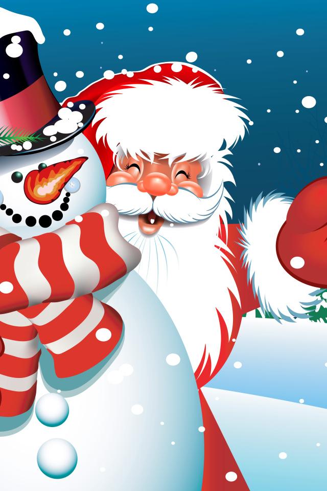 Картинка с дедом морозом и снеговиком
