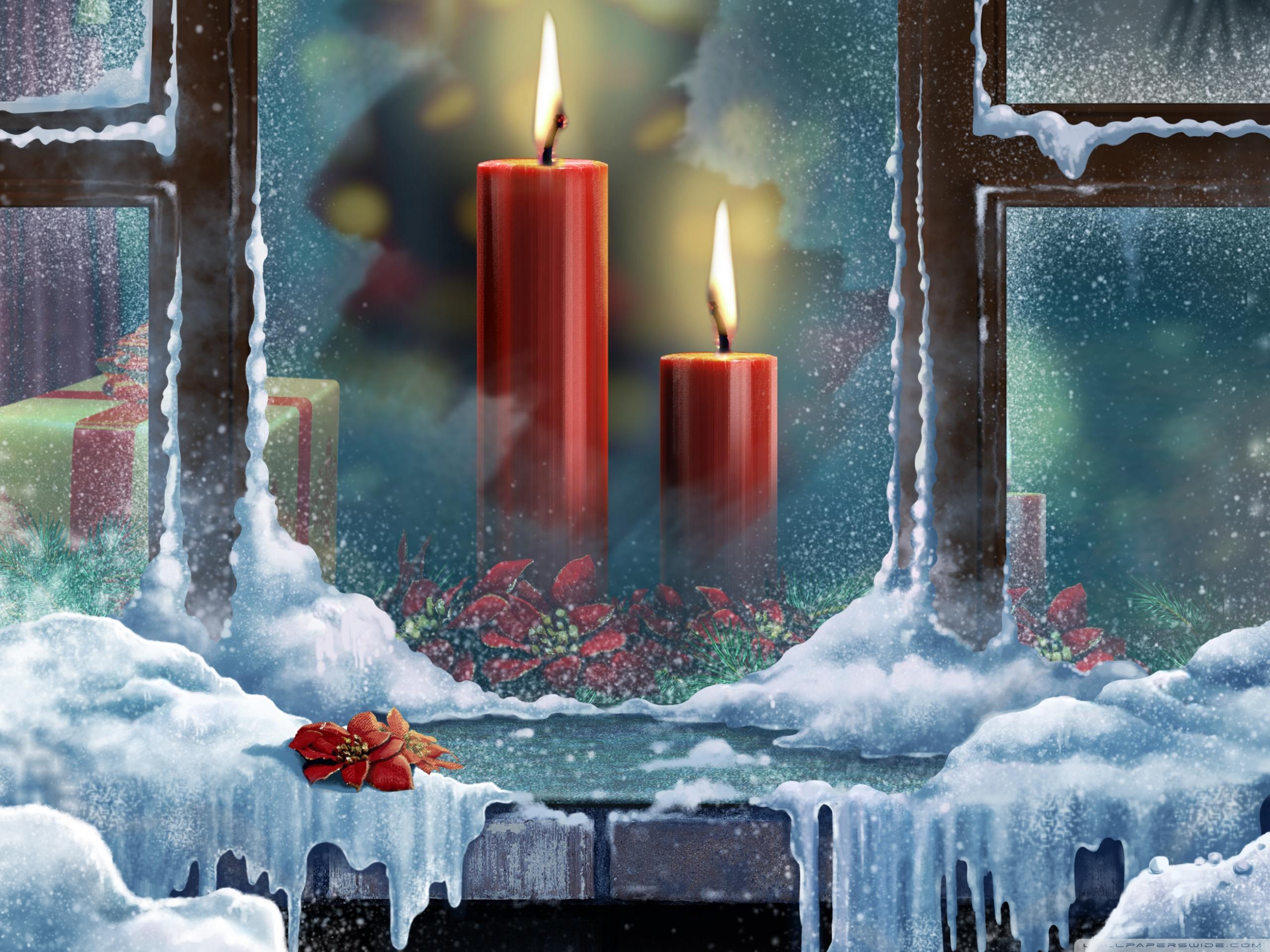 С новым годом открытка свечи