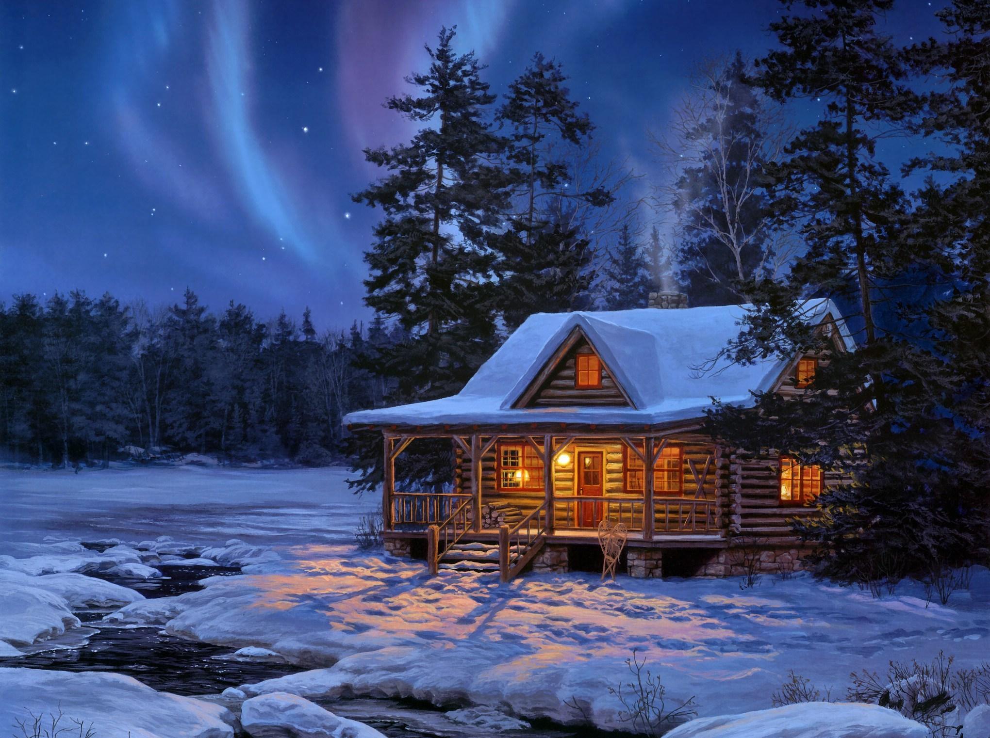 Картинки домик в снегу