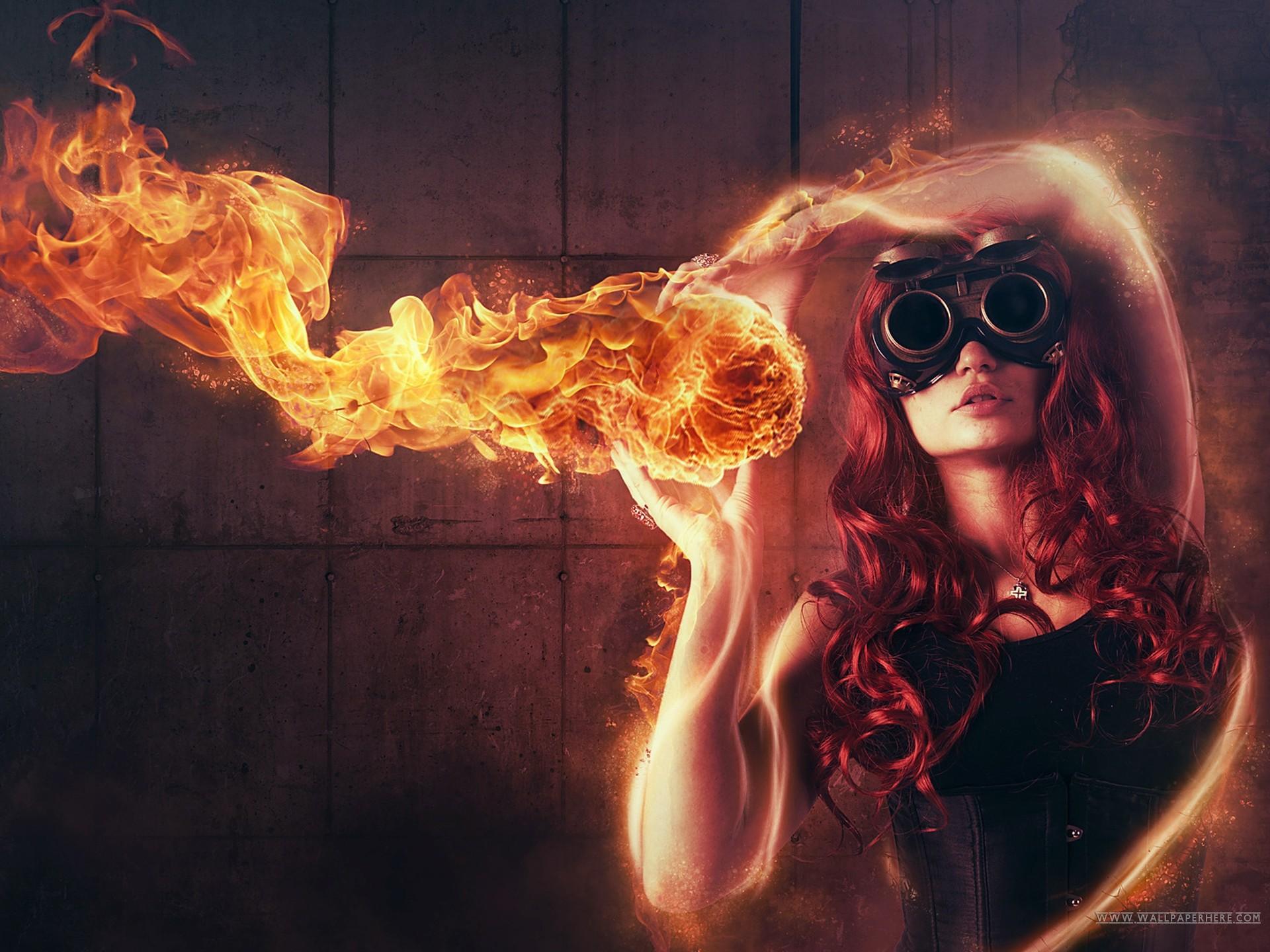 on cool Girl wallpaper fire