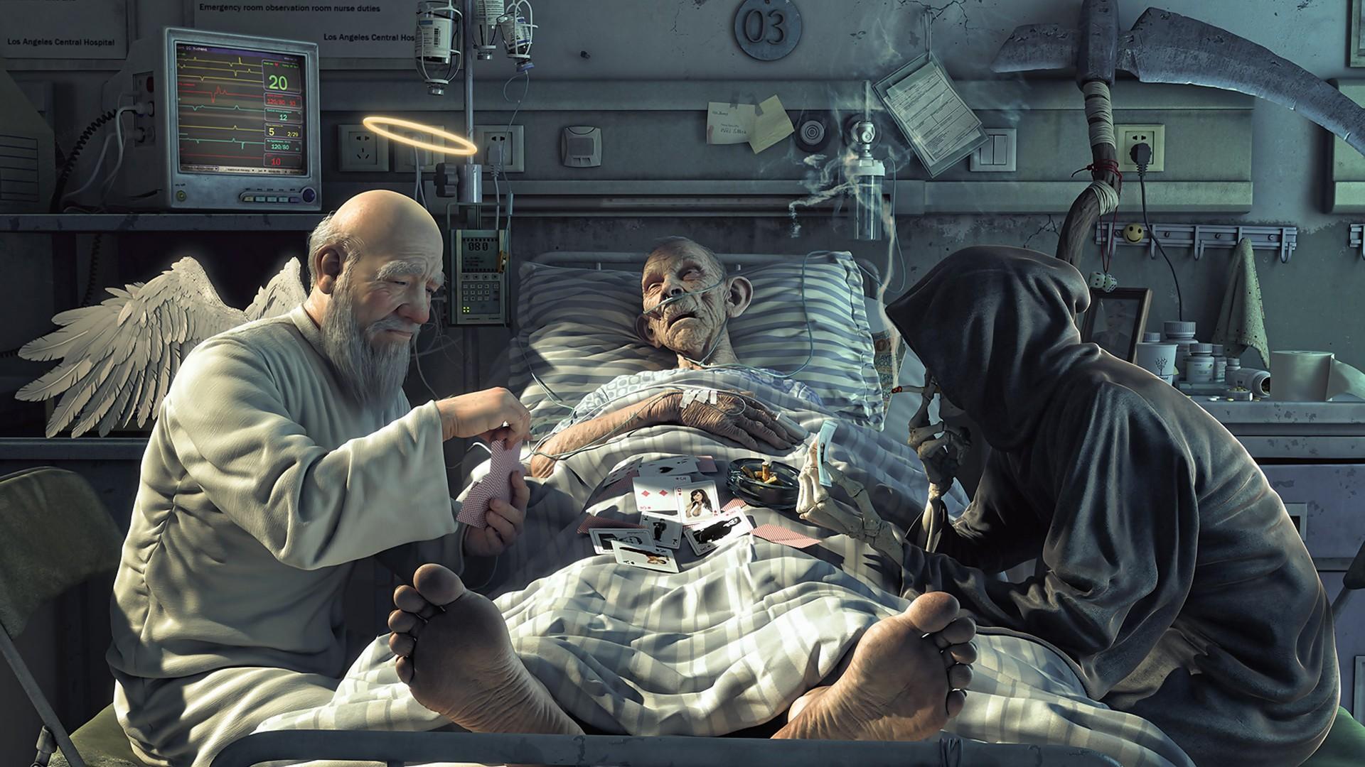 Смерть играет в карты с ангелом карты играть 2 масти