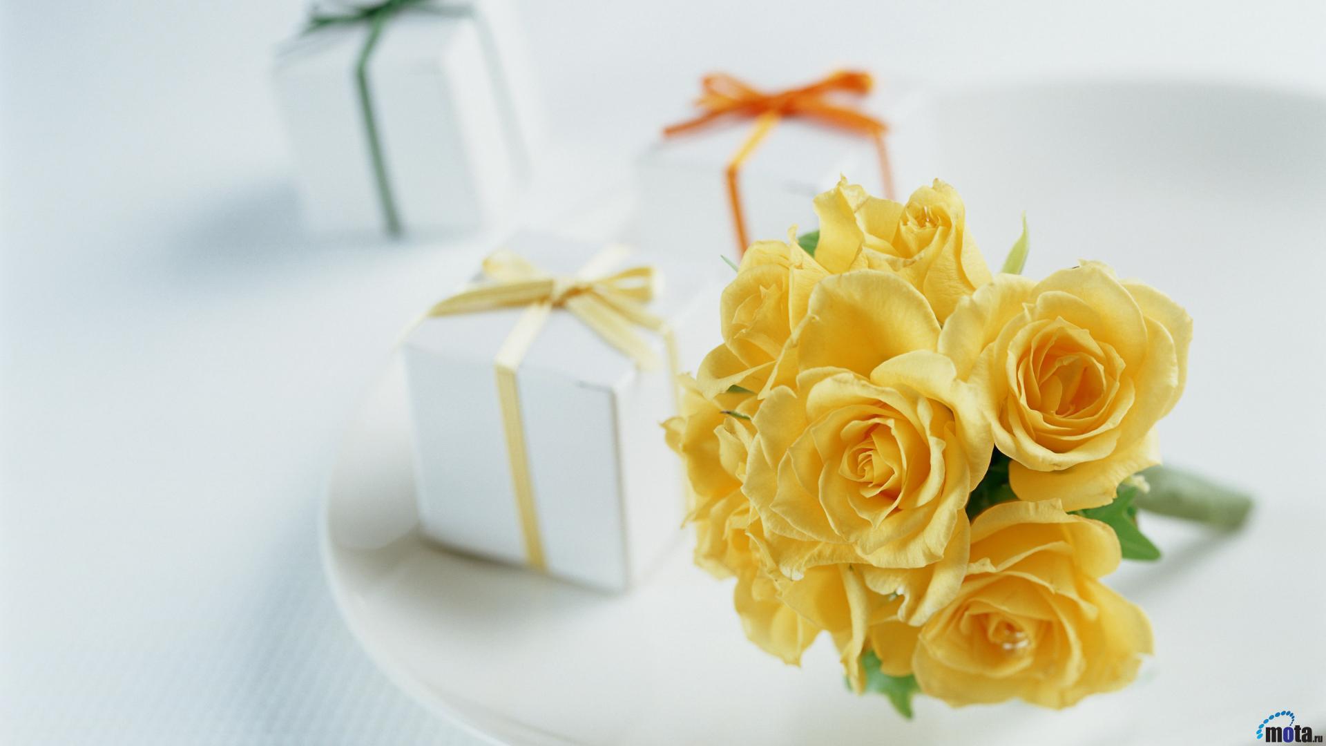 Картинка желтые розы с днем рождения