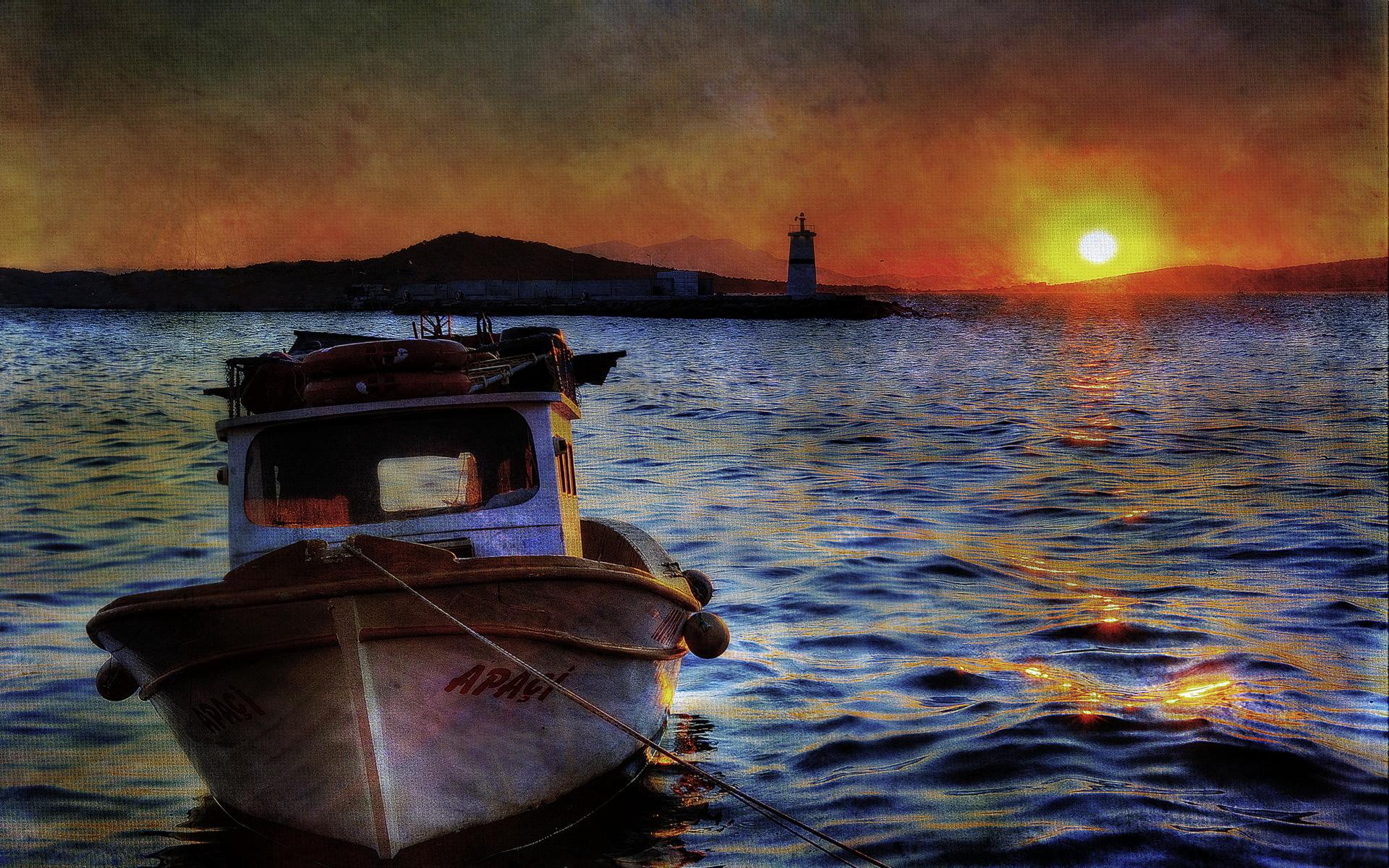 море берег лодки
