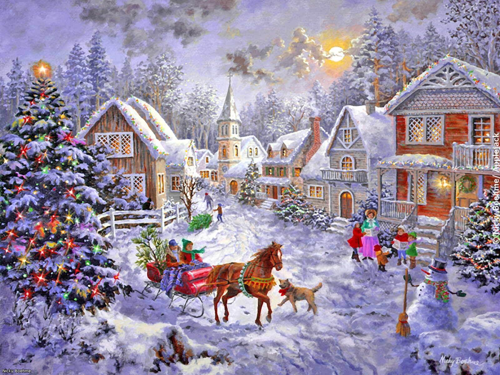 Открытка домик с новым годом
