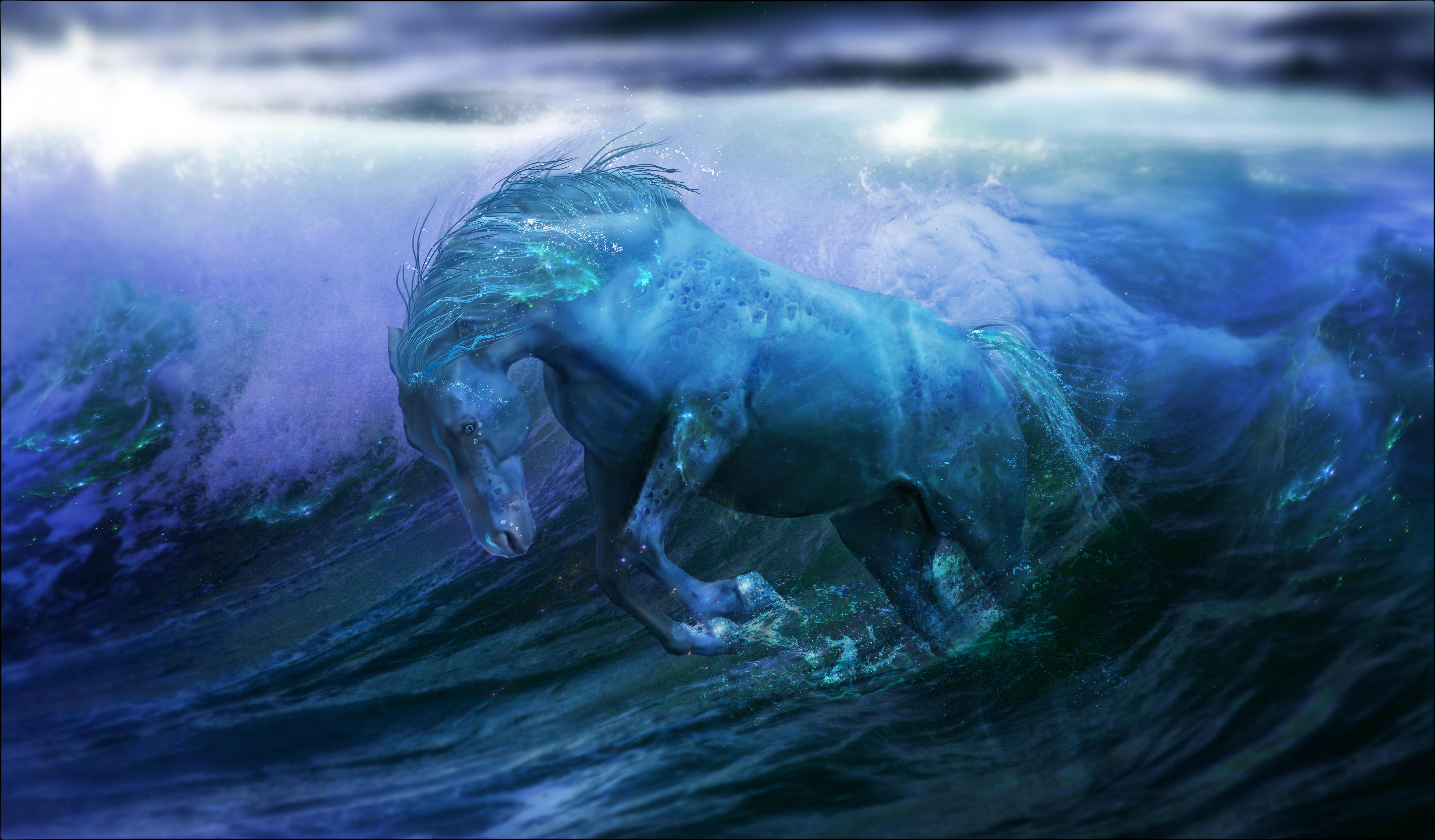 Zastaki.com - Голубая лошадь