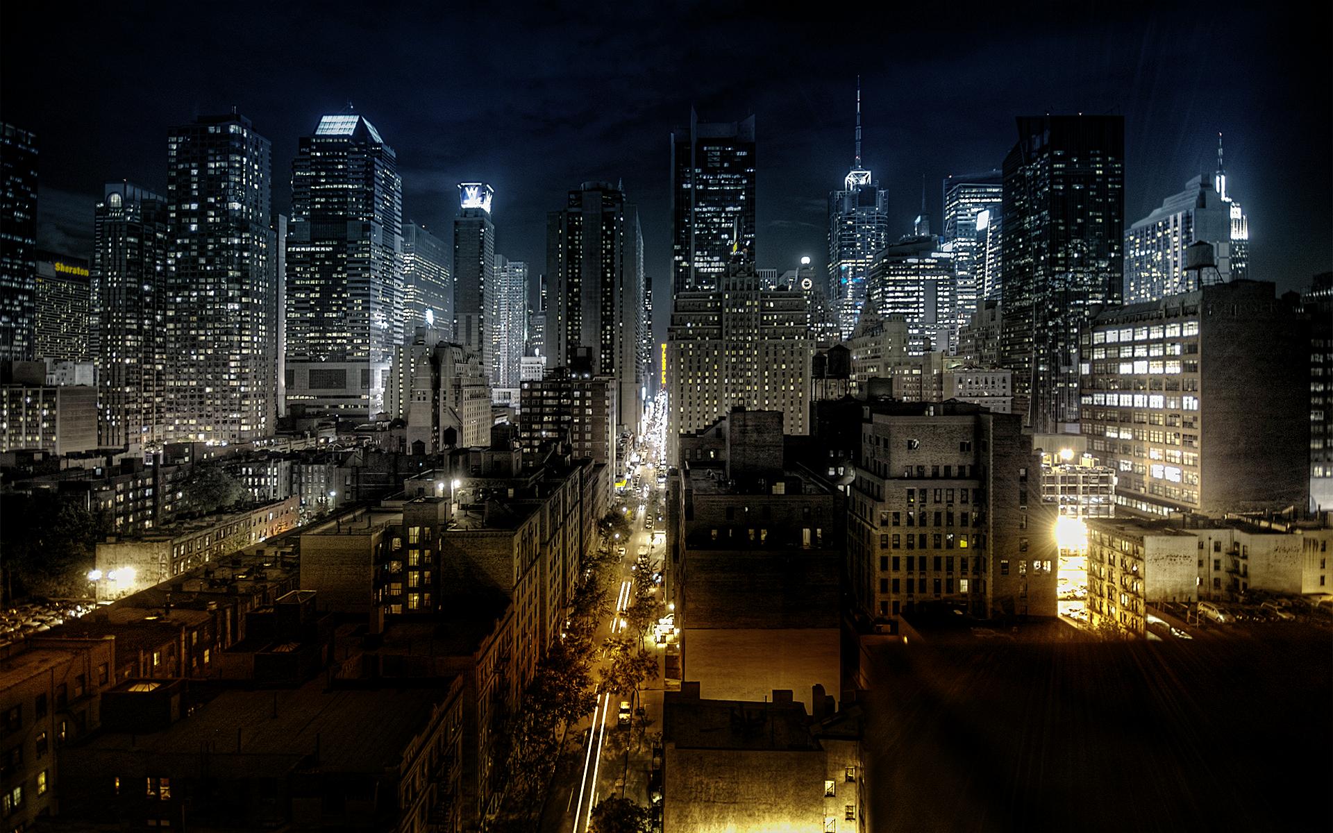 интересные картинки для рабочего город ночью виниловые флизелиновой основе