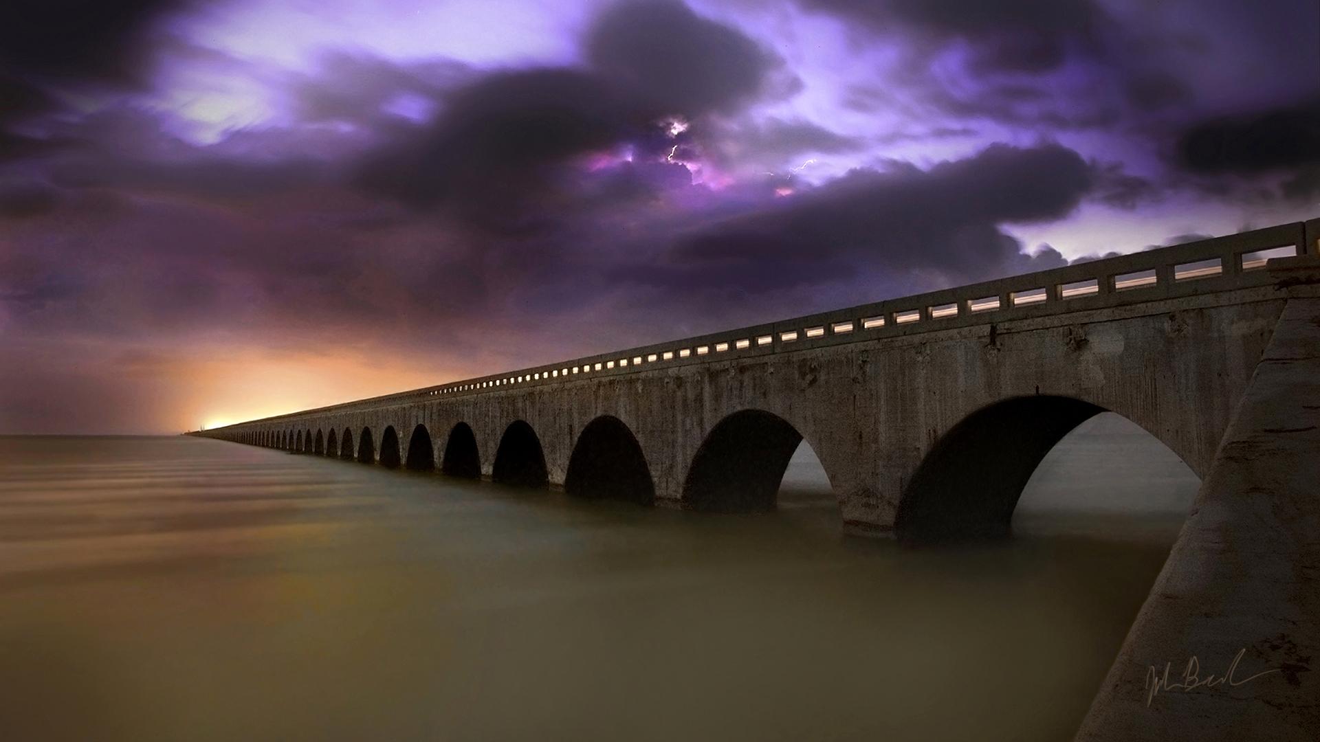 The bridge over the ocean wallpapers and images - Fantasy wallpaper bridge ...