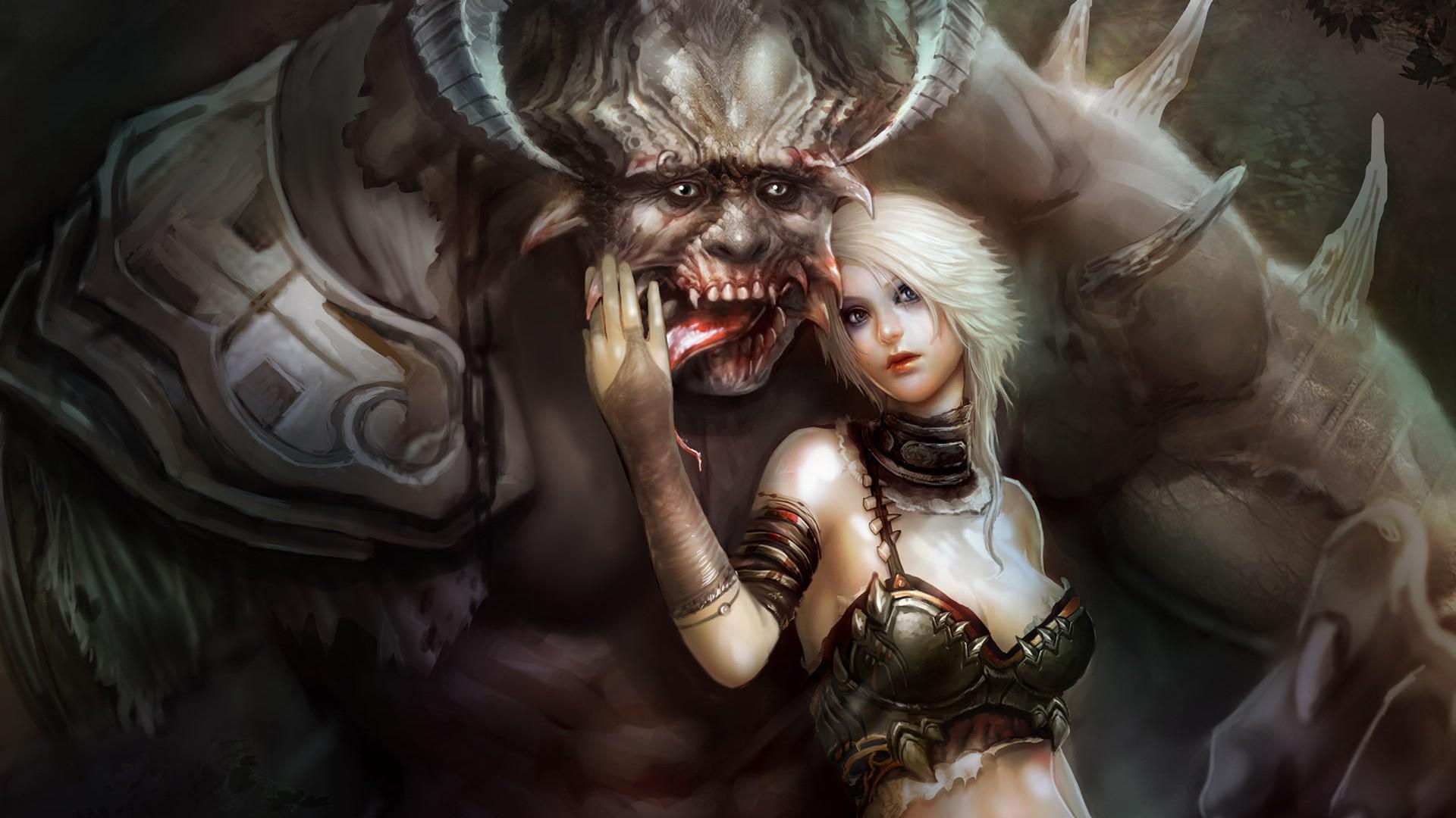 картинки девушка с монстром