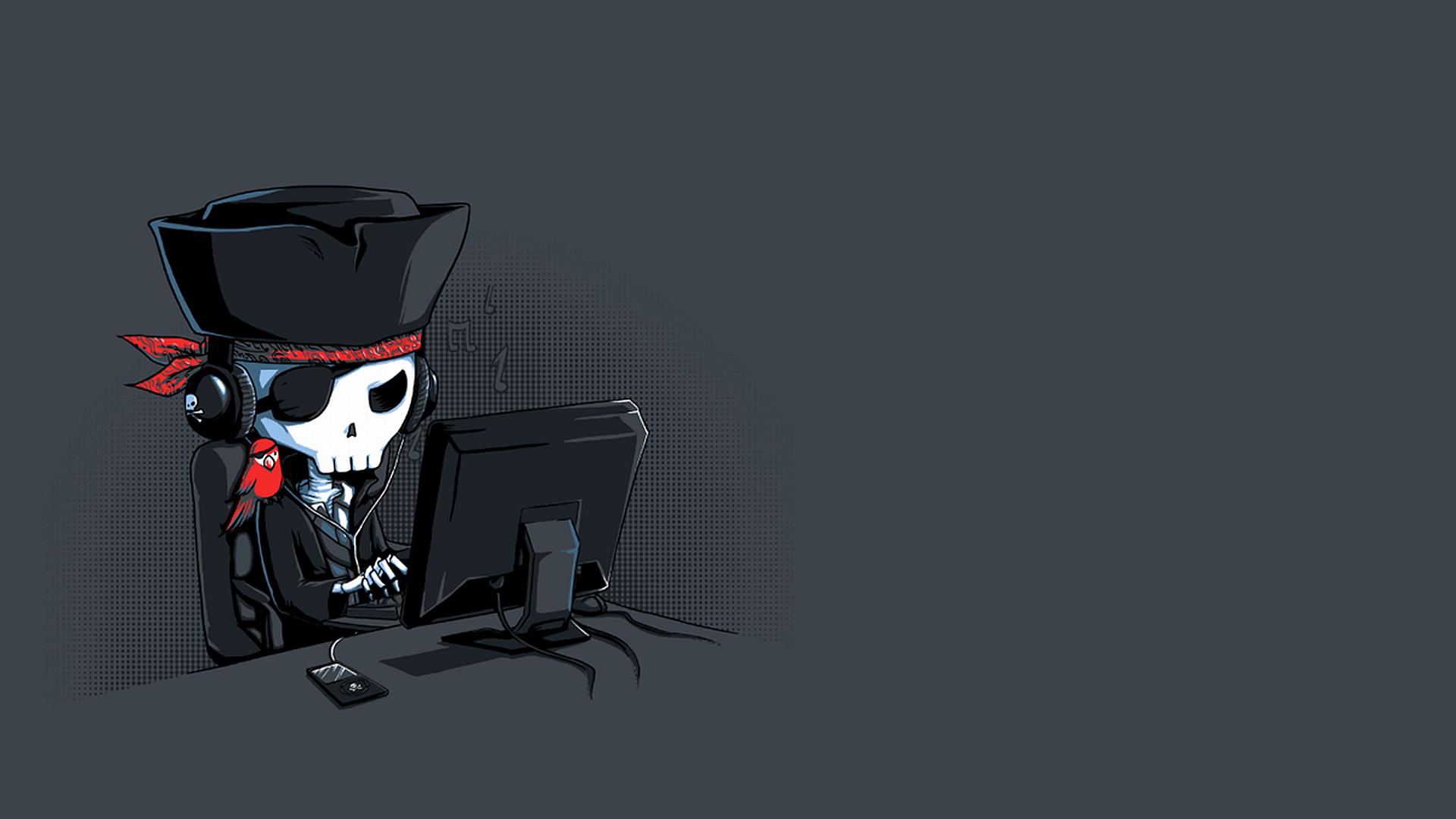 Pirate Listen Music With Dark Background HD Wallpaper