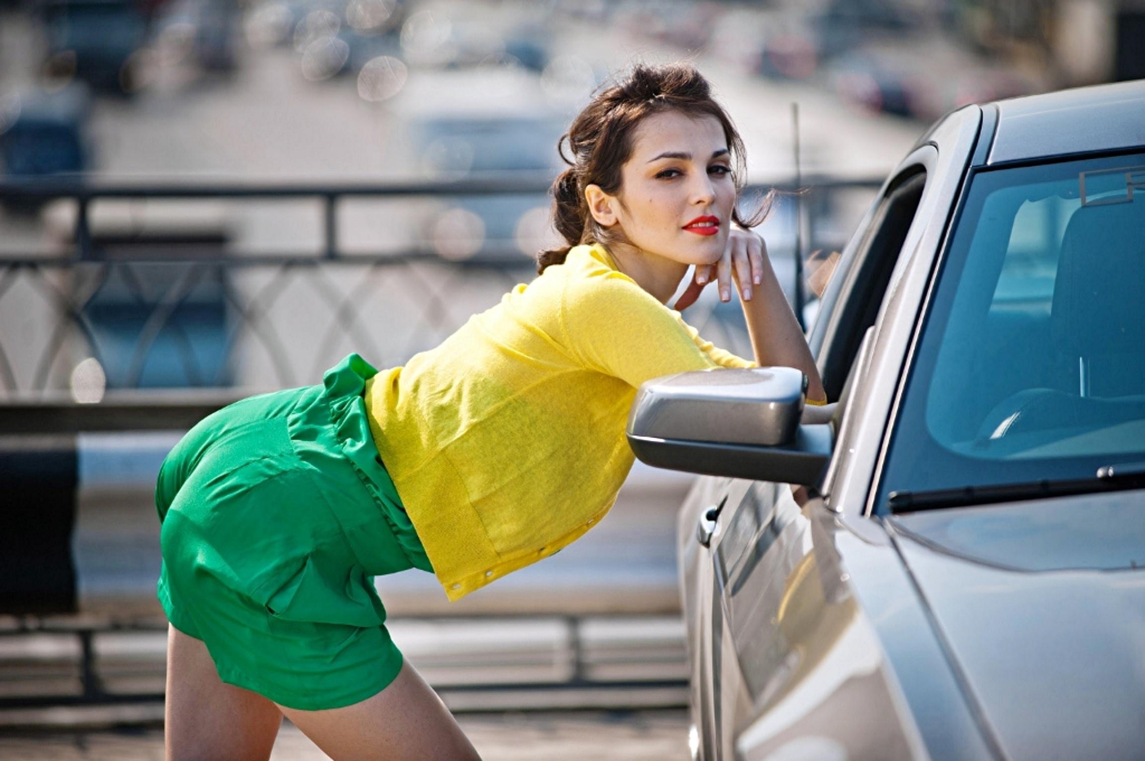 Sati Kazanova and Ford Mustang Girl With Car Wallpaper