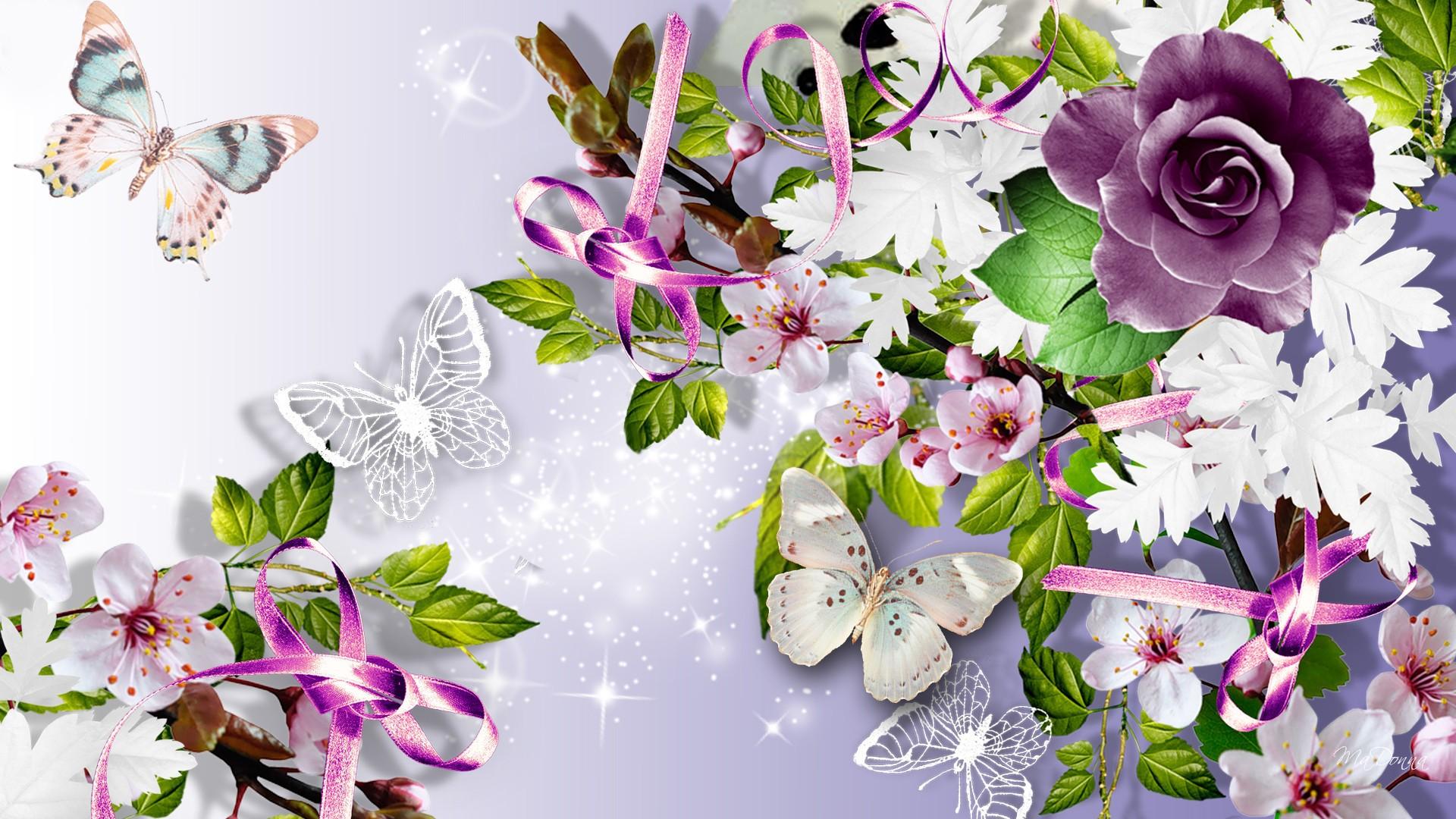 Для, открытки с 8 марта с бабочками