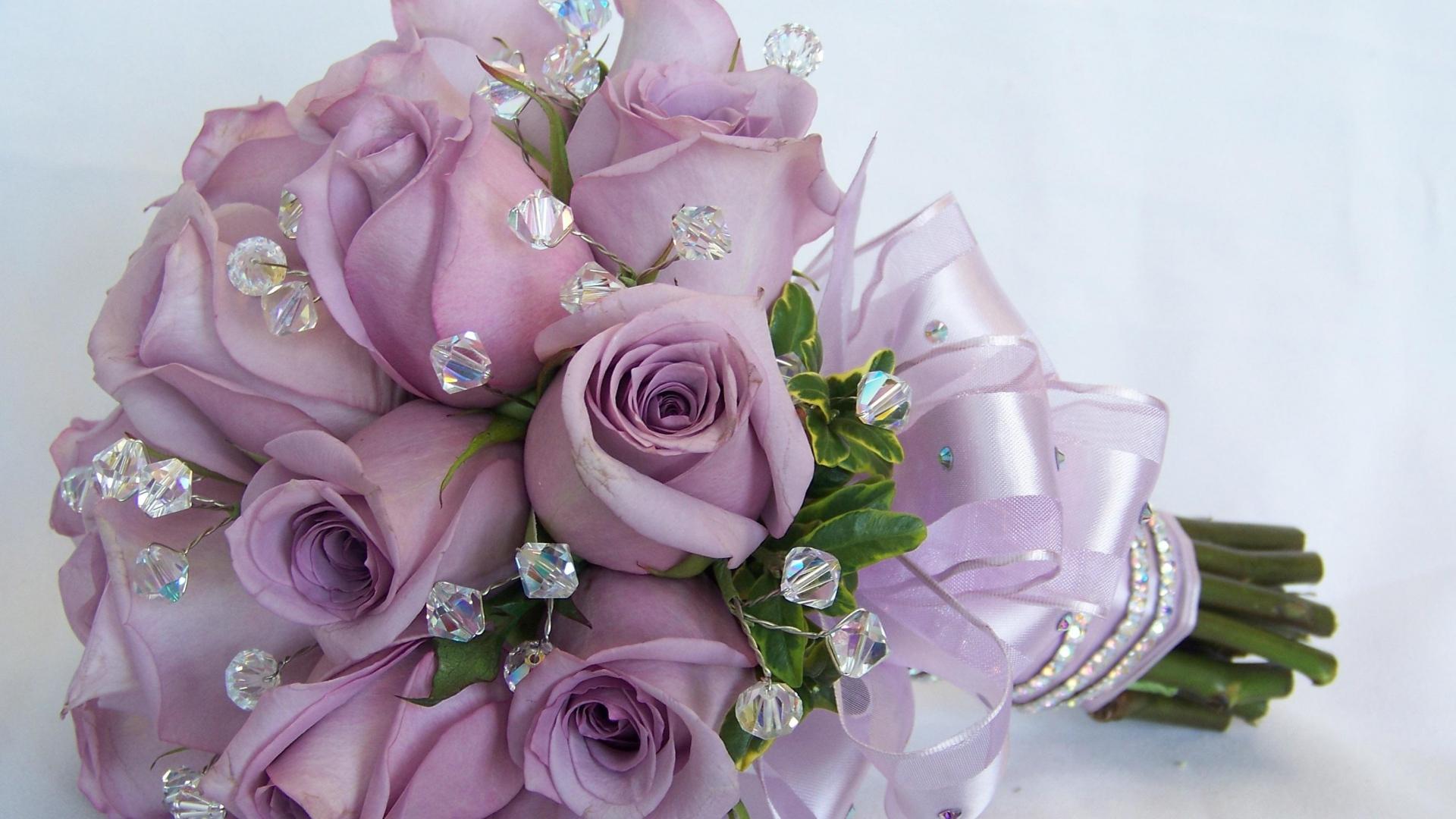 Purple Roses In A Wedding Bouquet Desktop Wallpapers 1920x1080