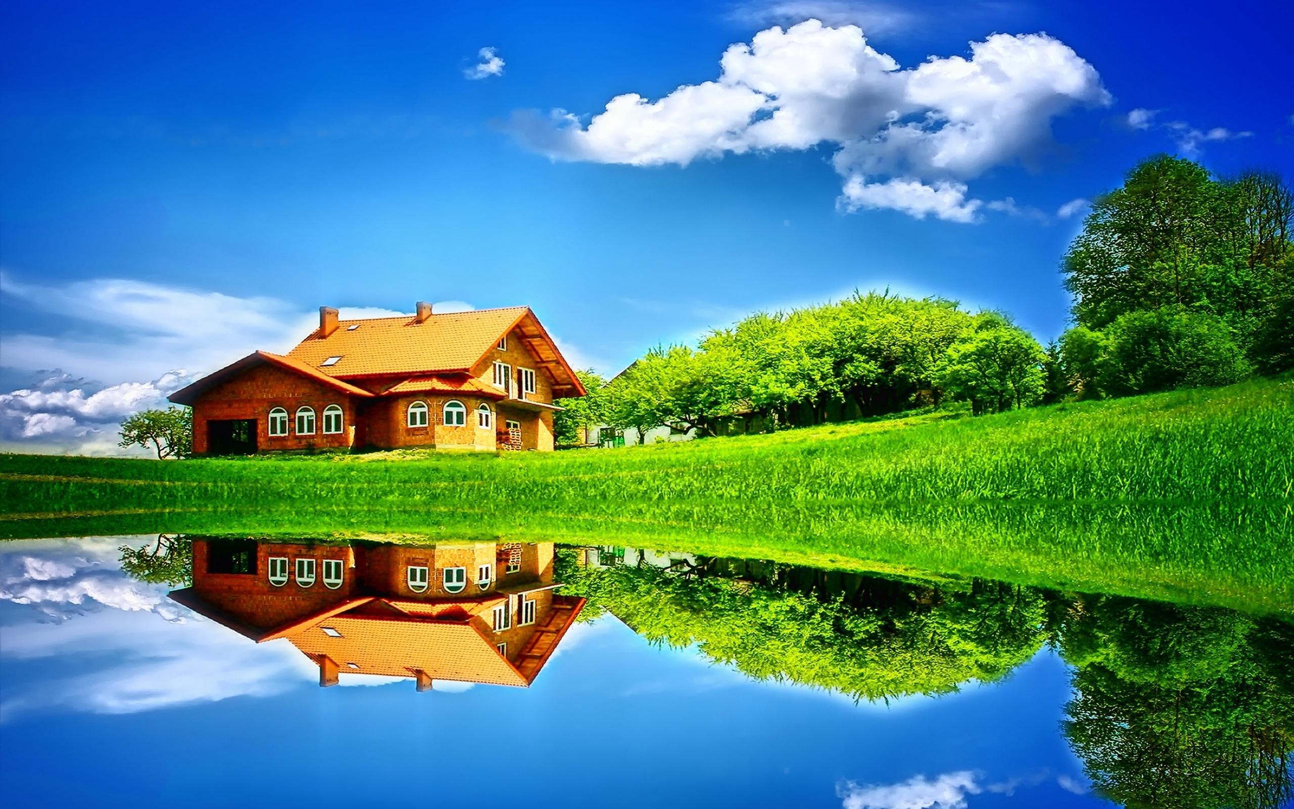 Картинки дом на природе с солнцем, открытка днем