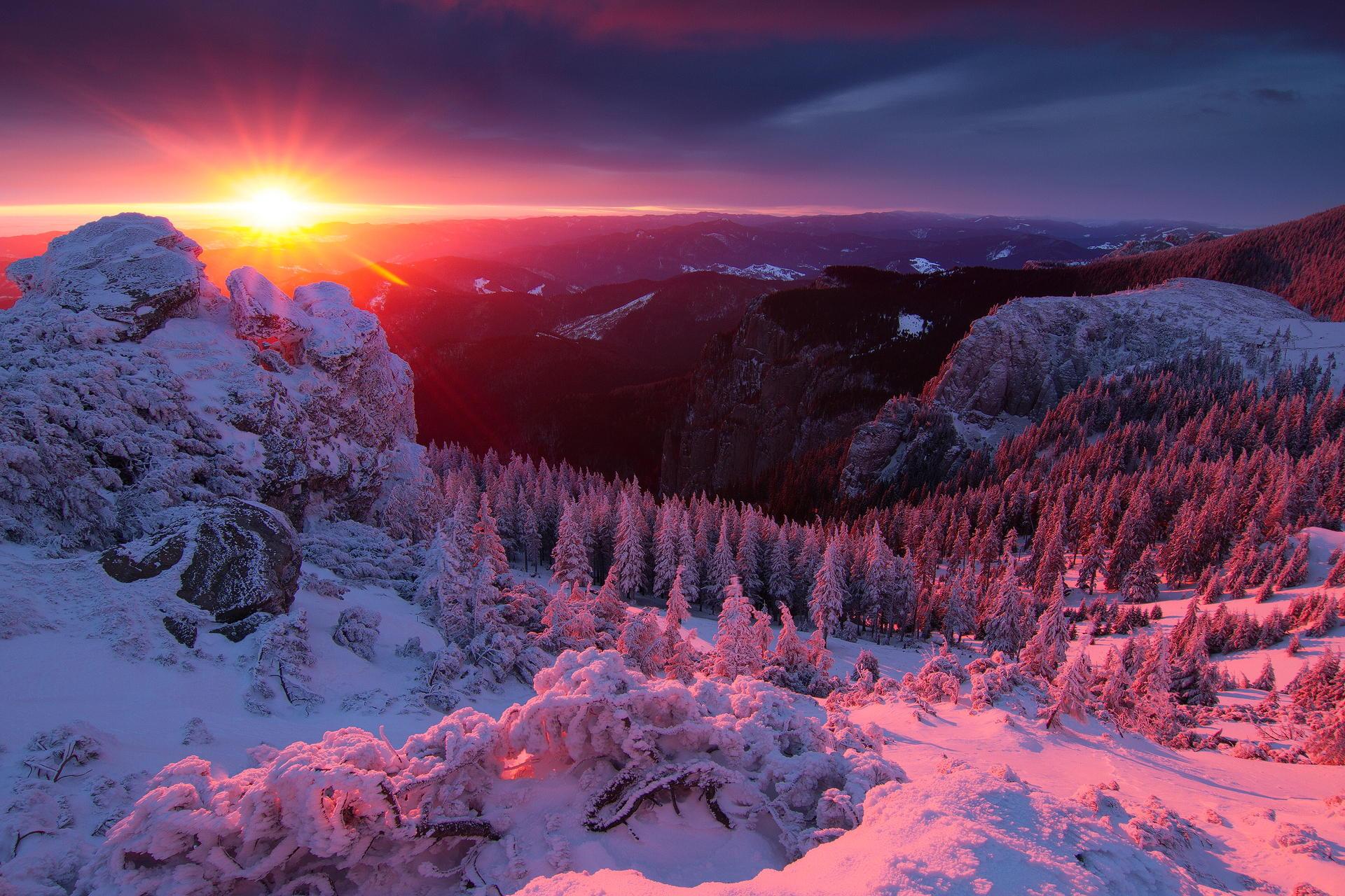 sundown in winter