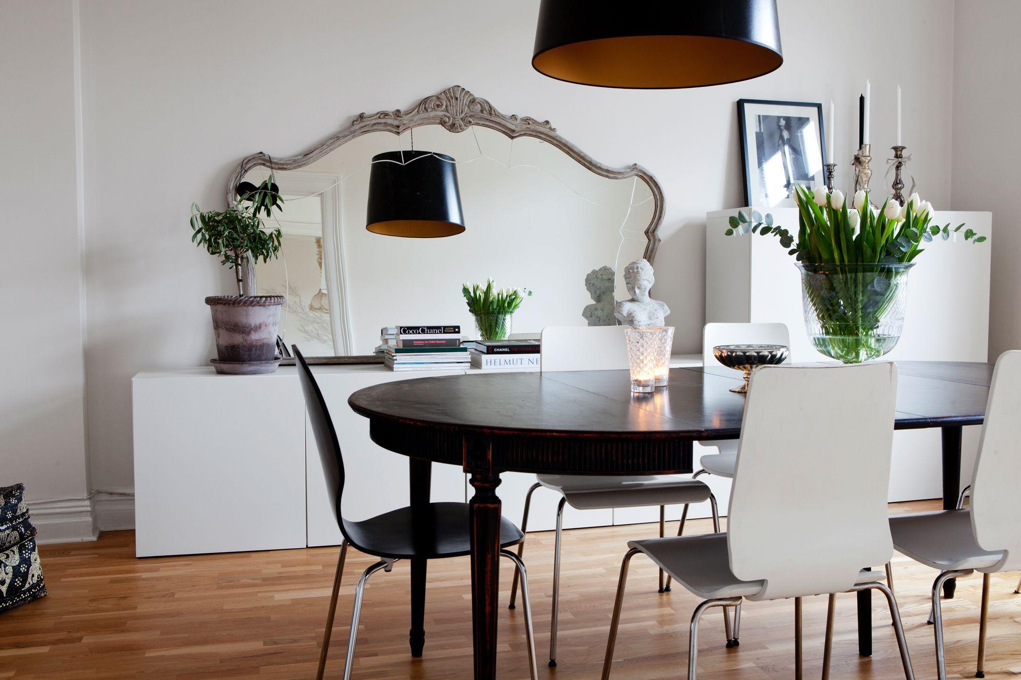 Black chandelier dining room