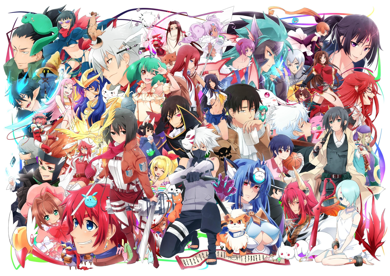 Разные аниме на одной картинке