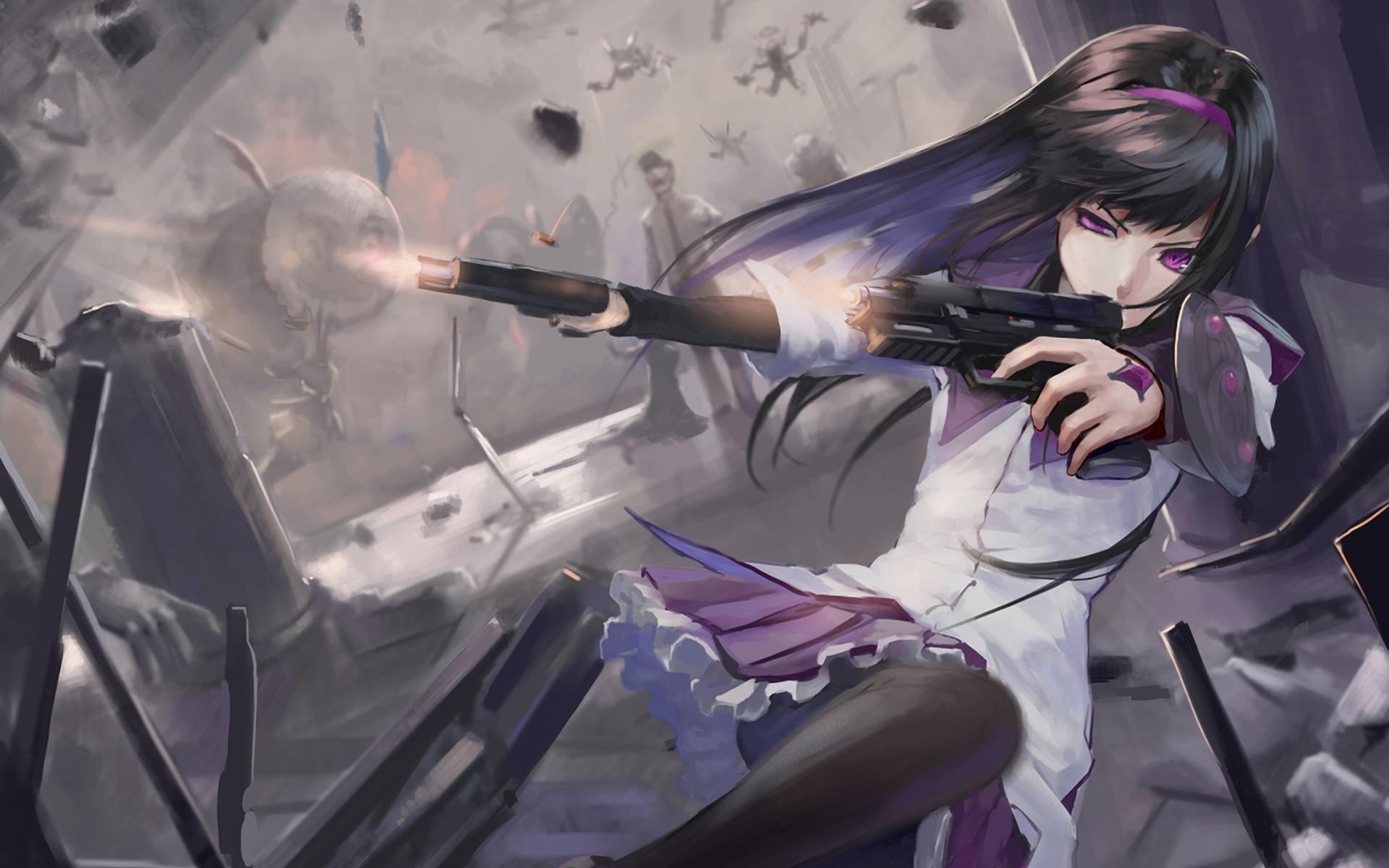 Картинки девушек аниме с пистолетом