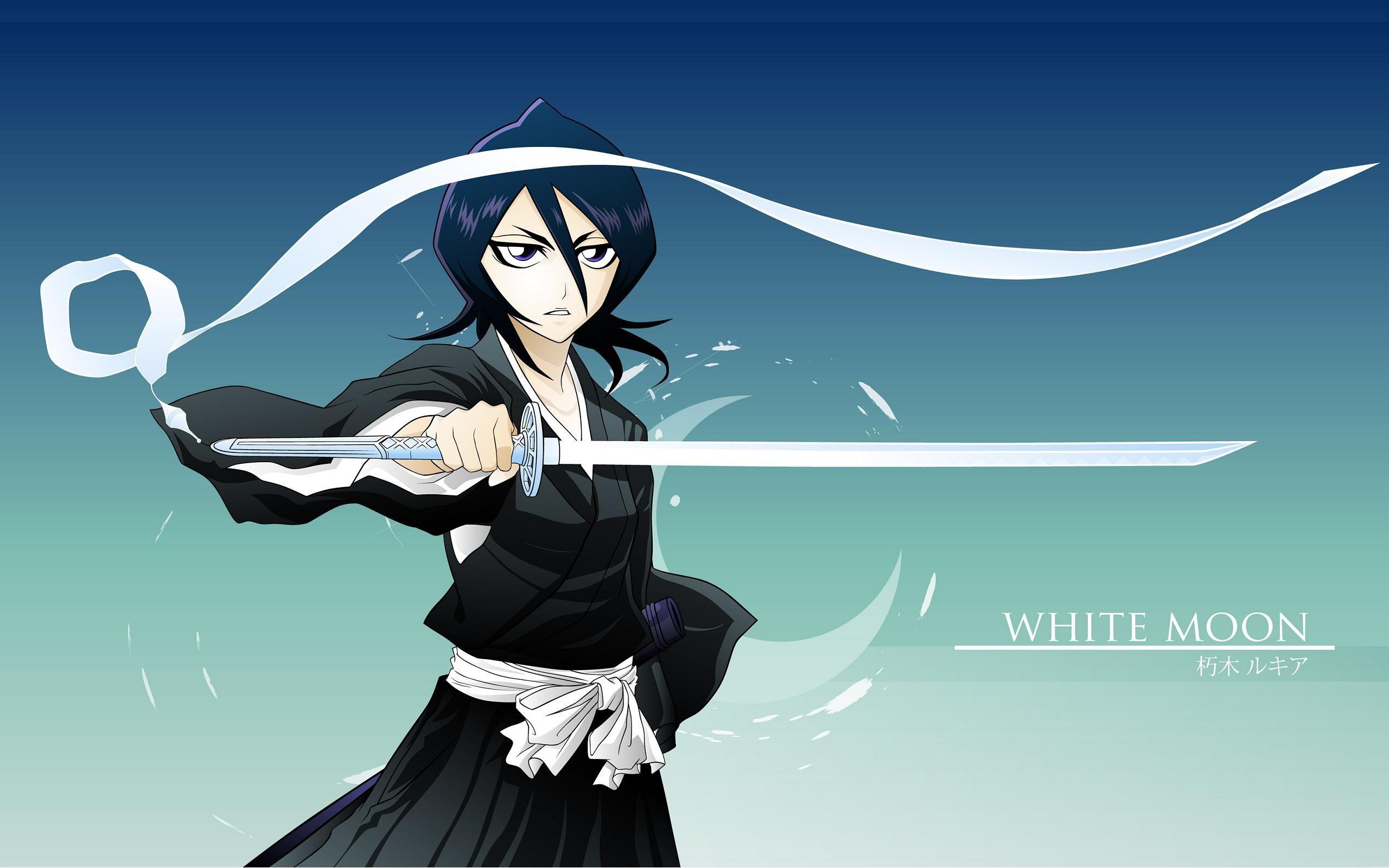 Девушка с катаной, аниме Белая луна - обои для рабочего ... Девушка с Катаной
