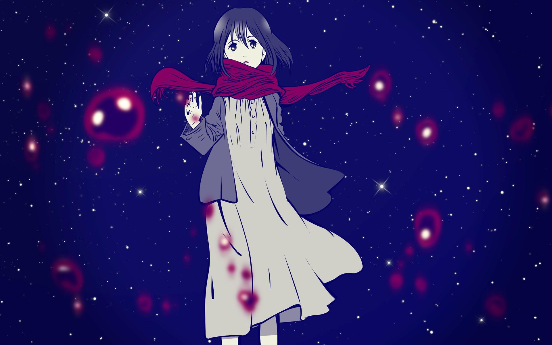 Девушка в шарфе аниме 1