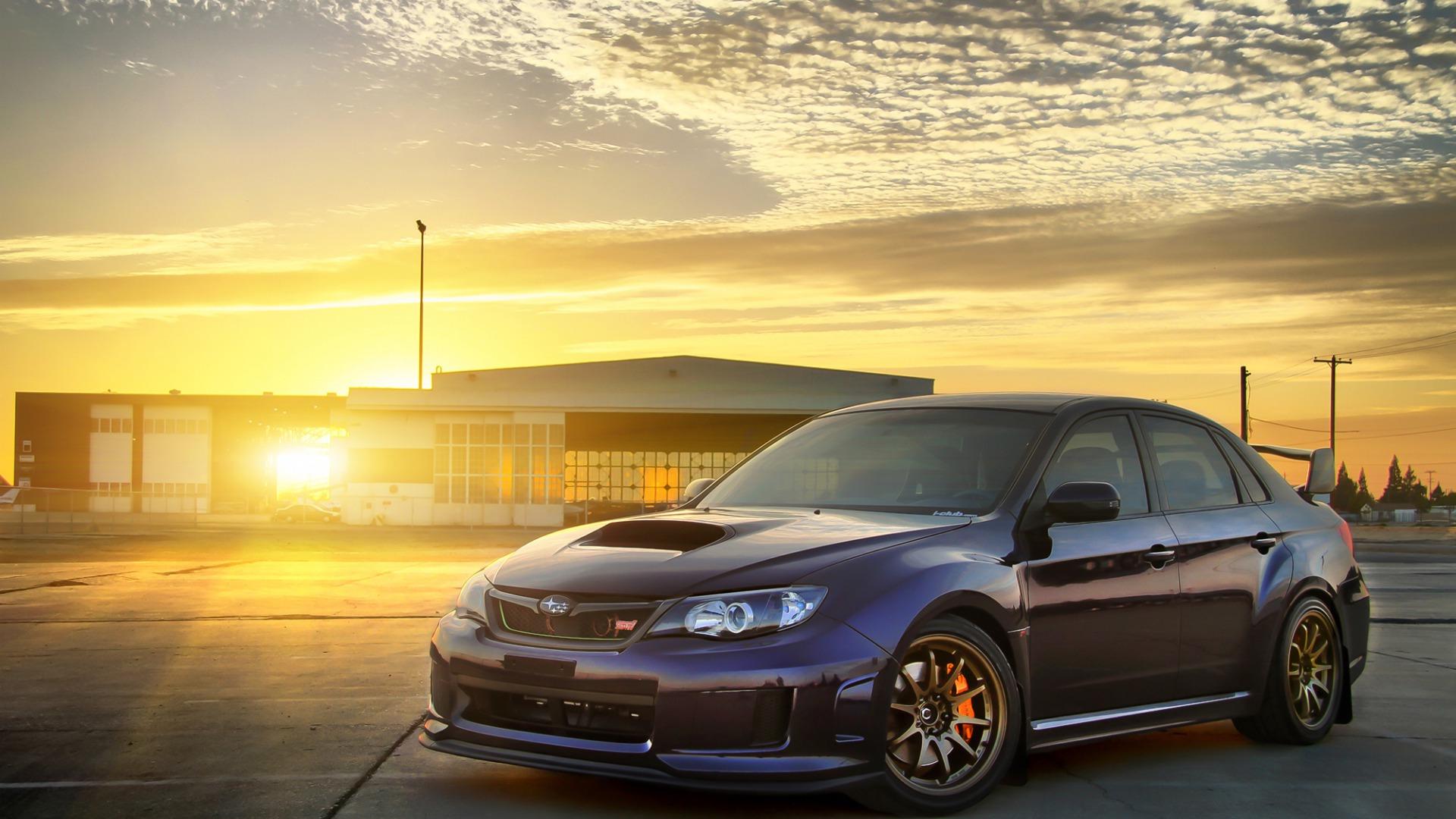 Car Subaru Impreza At Sunrise Wallpapers And Images