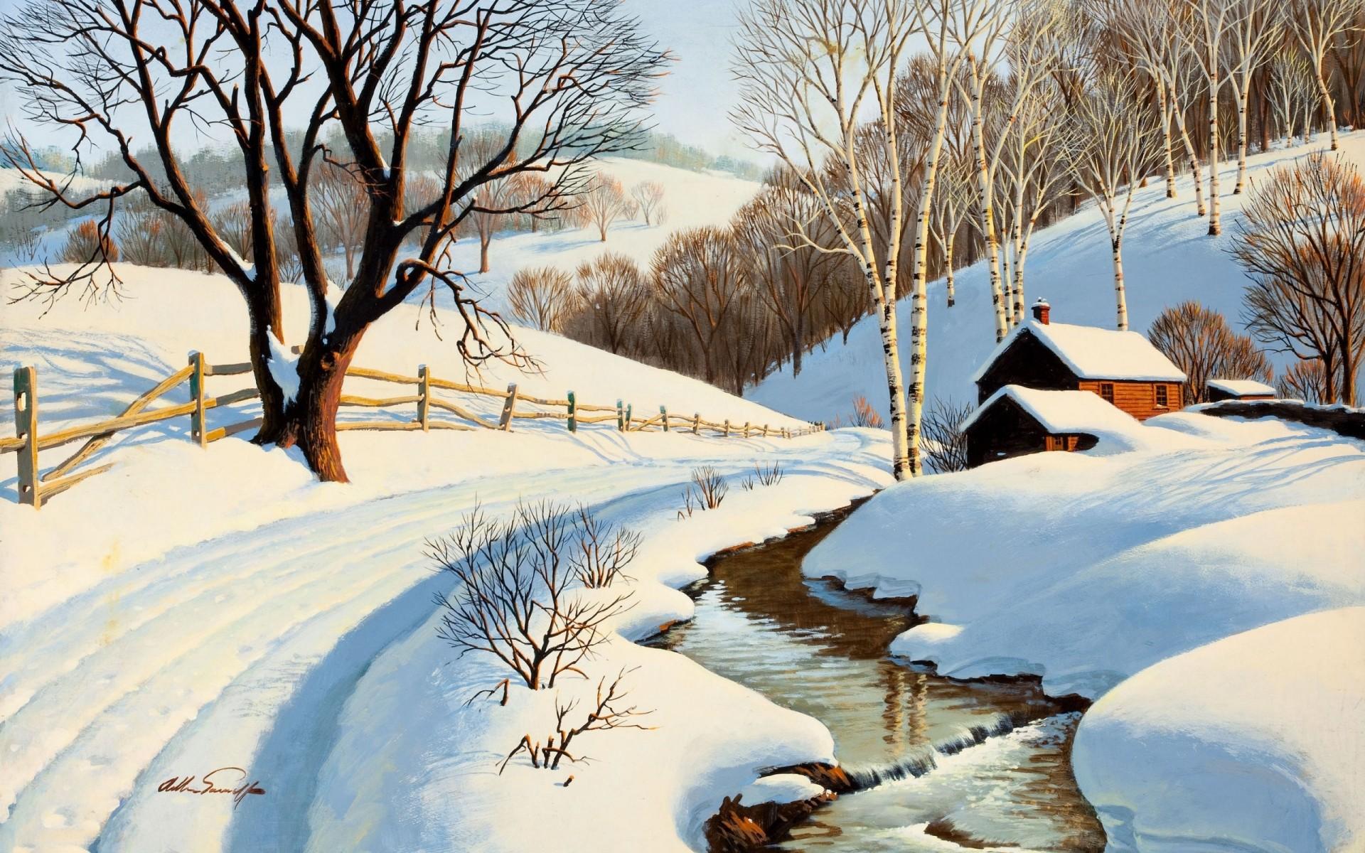 Открытки весна и снег