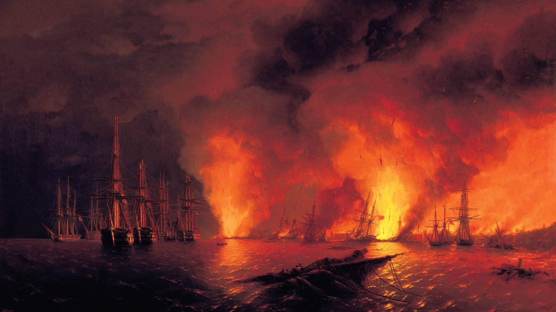 Zastaki.com - Картина Айвазовского Синоп. Ночь позднее боя 08 ноября 0853 года
