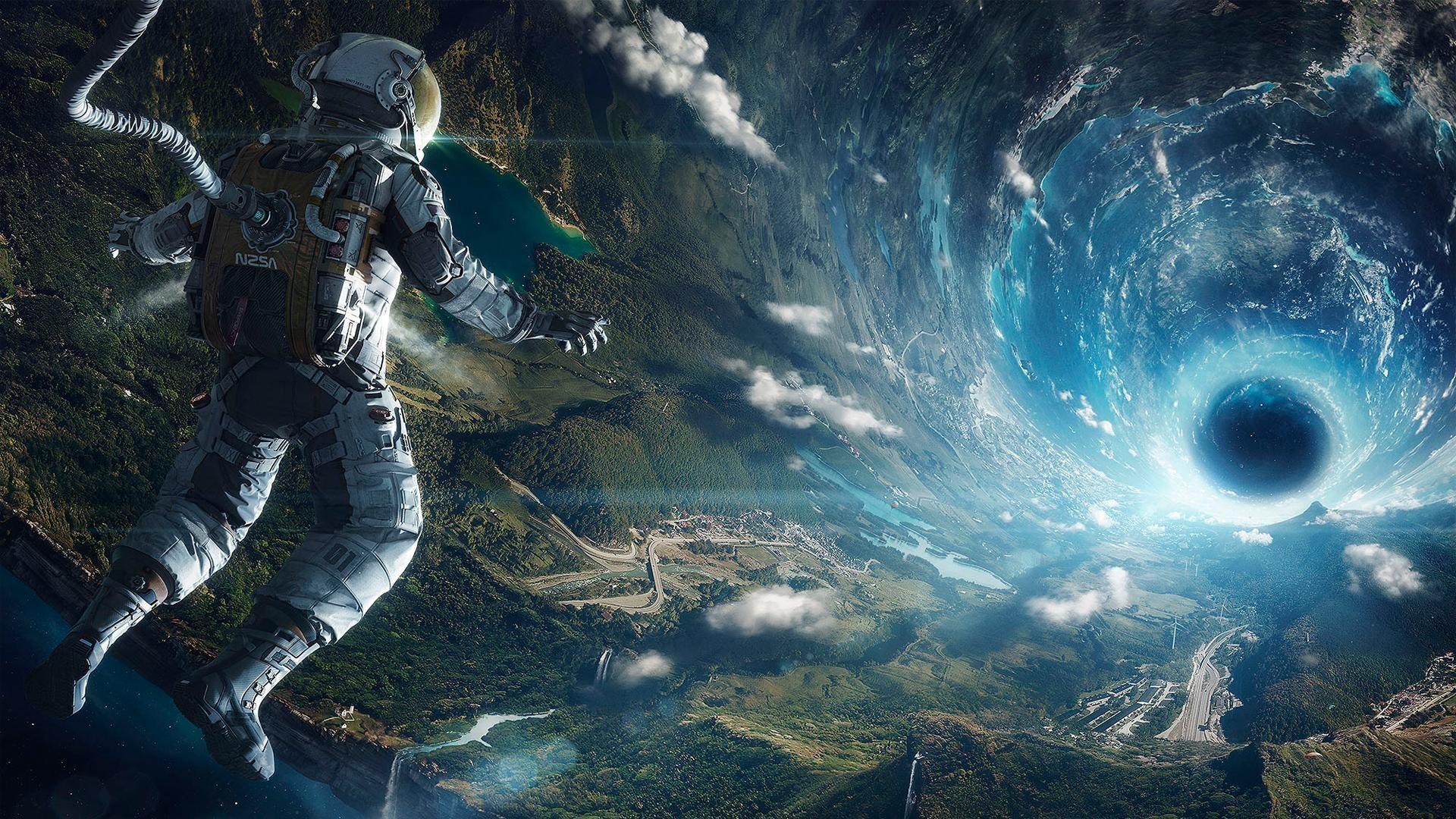 Astronaut To Black Hole Desktop Wallpapers 1024x768