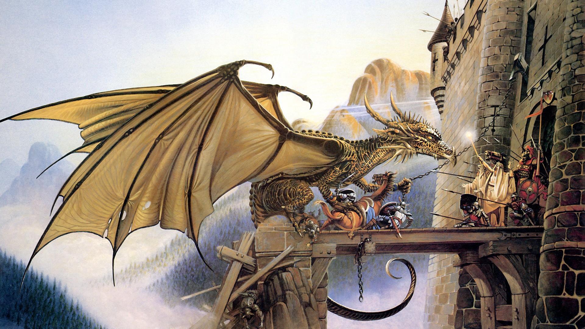 Картинка дракон над замком