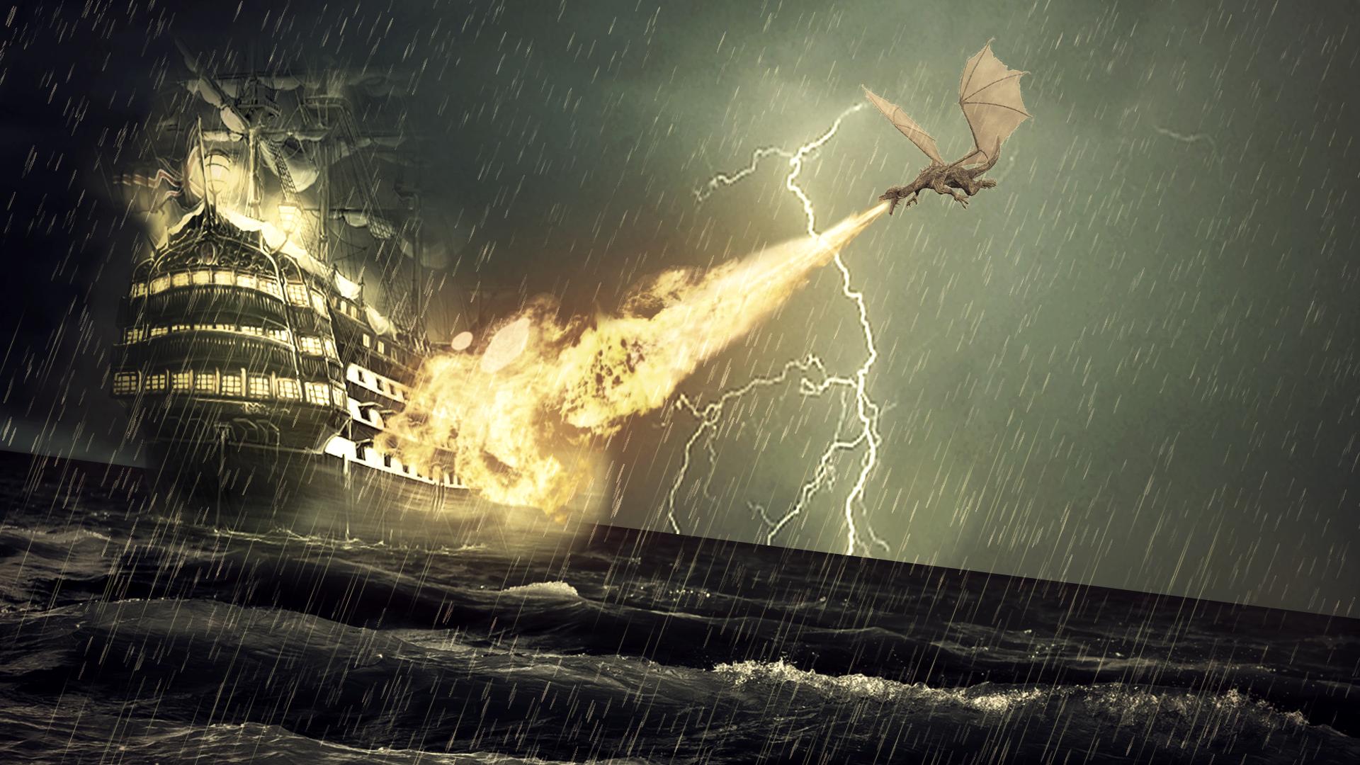 Фото корабля сквозь шторм