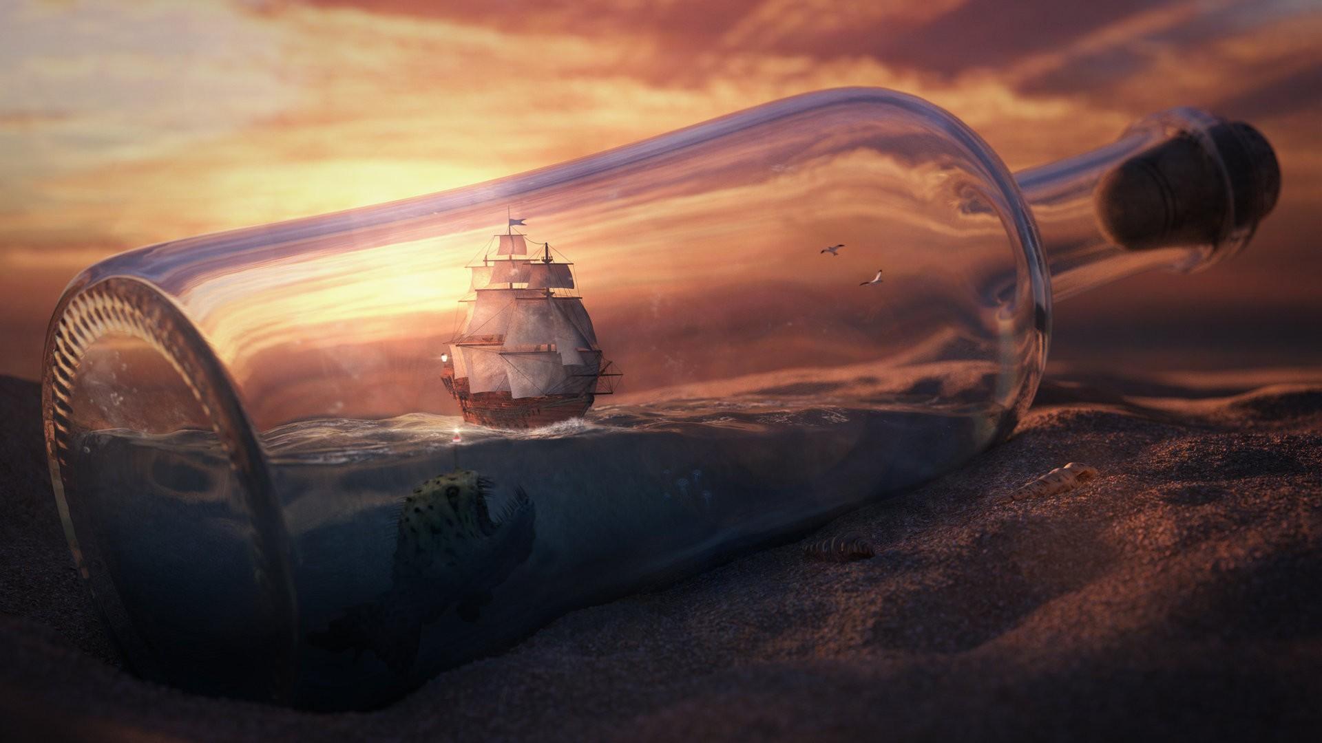 bottle ship wallpaper hd desktop - photo #13