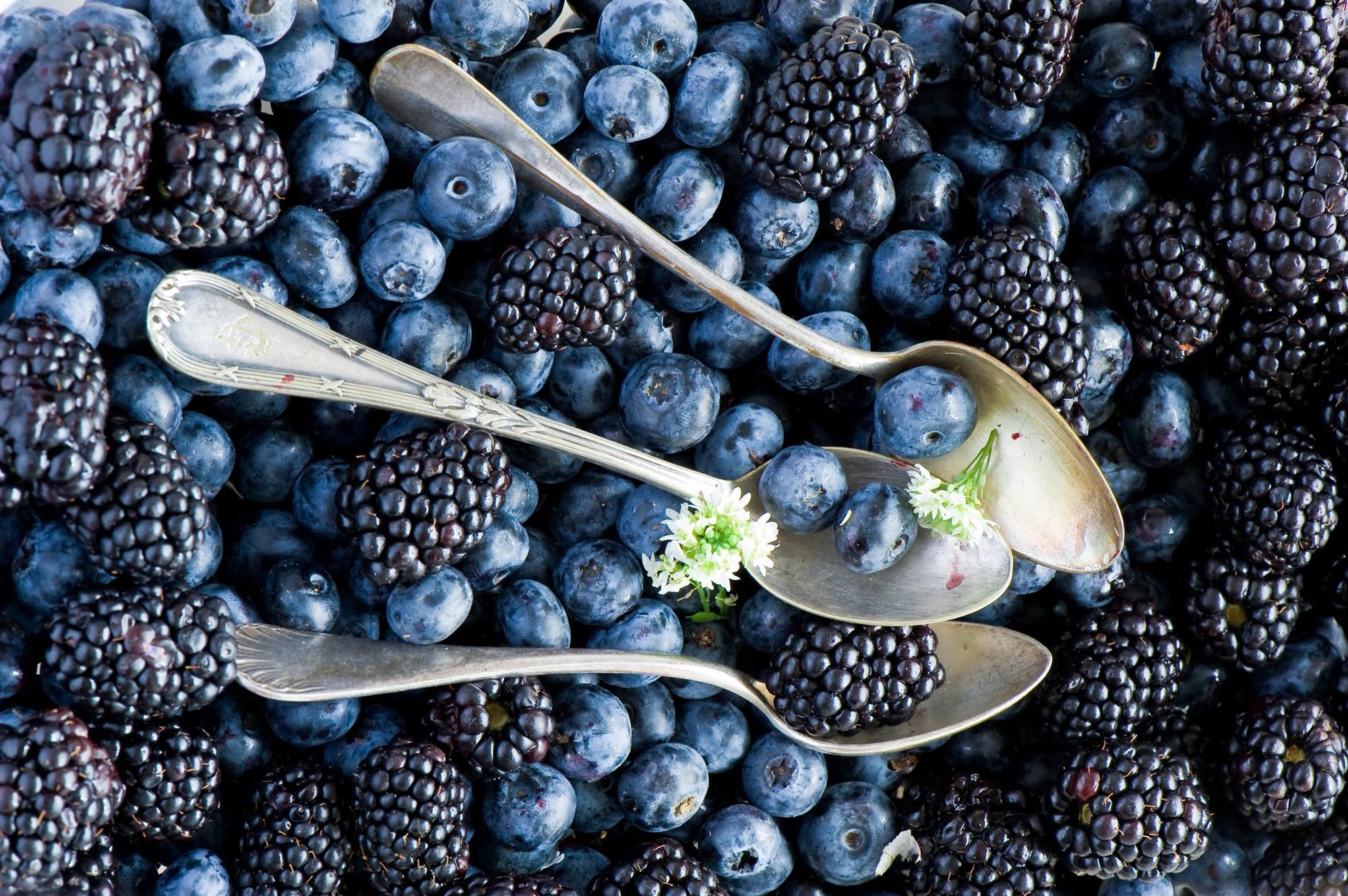 Spoons including blueberries and blackberries wallpapers ...