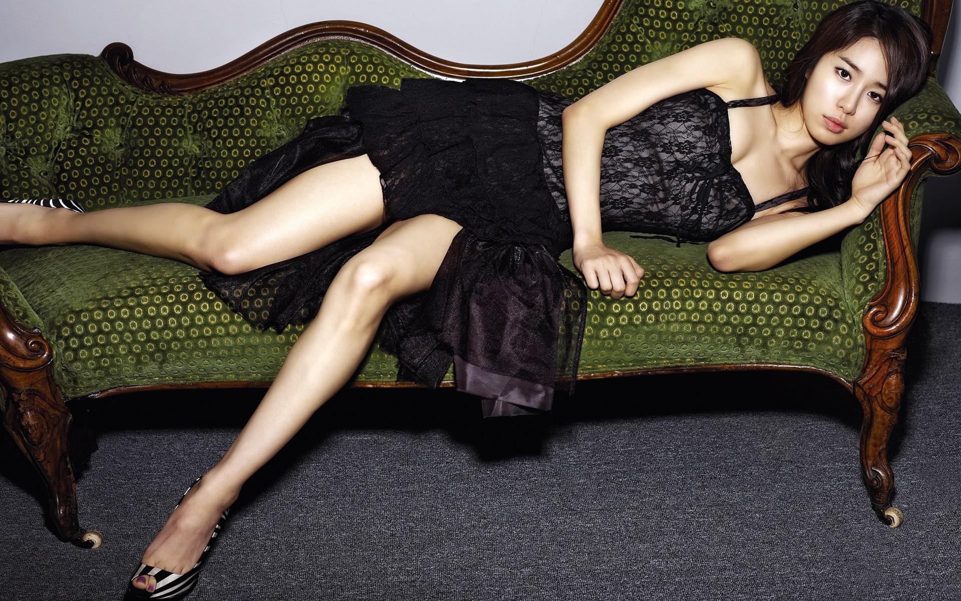 Black dress korean - Korean Girl In A Black Dress Lying On The Couch