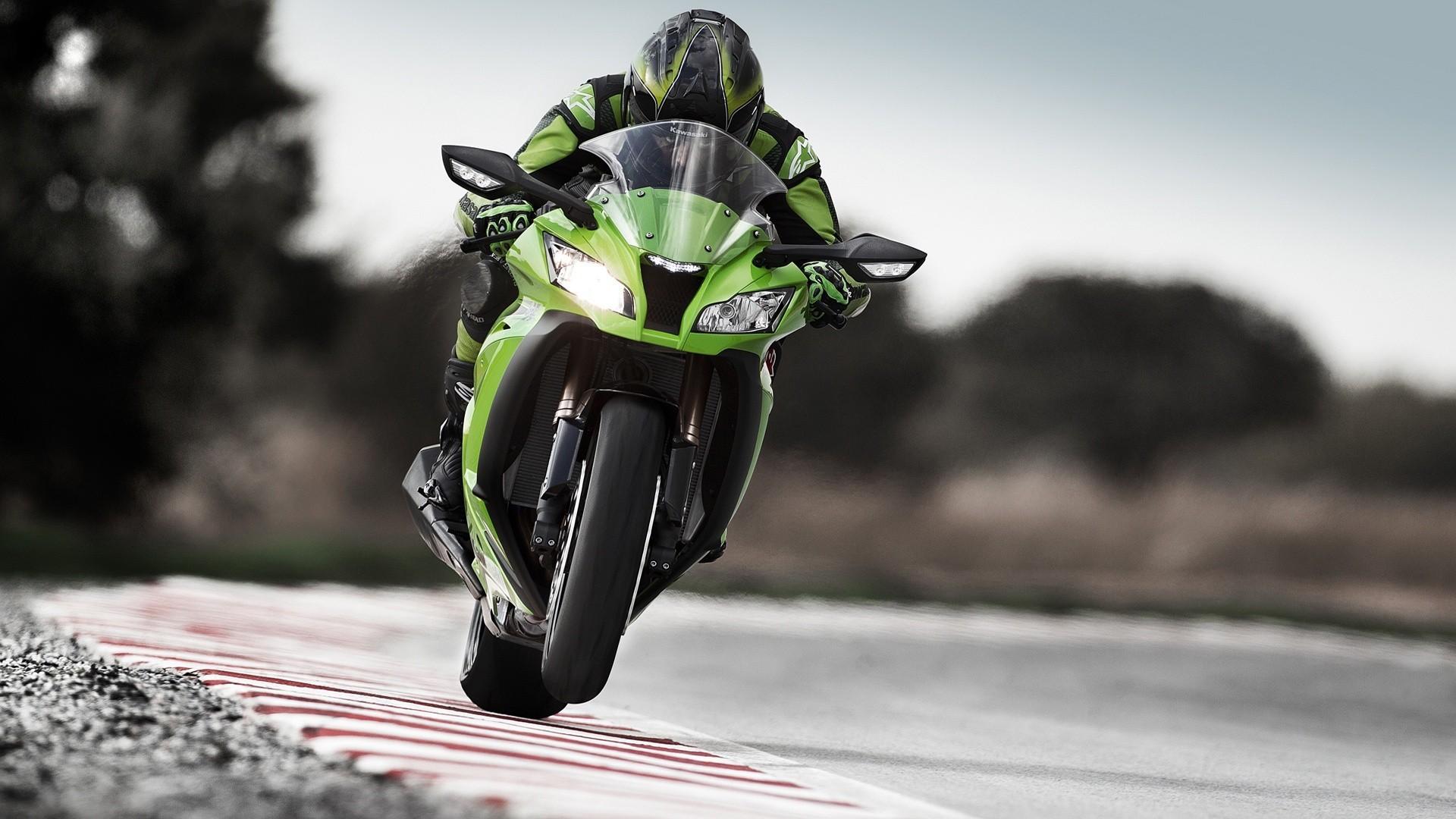Athlete On A Green Kawasaki Ninja