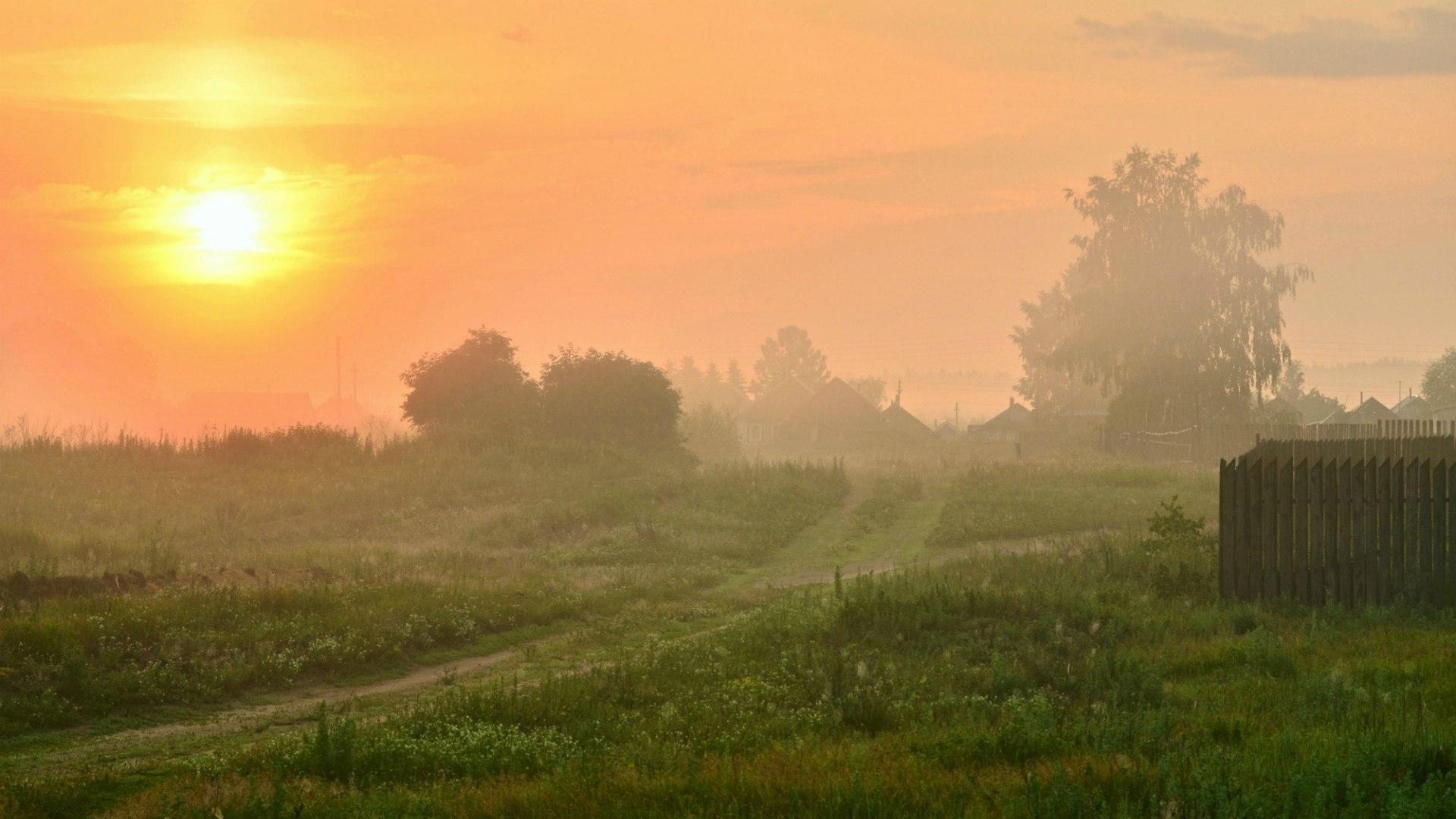 Картинки рассвет в деревне