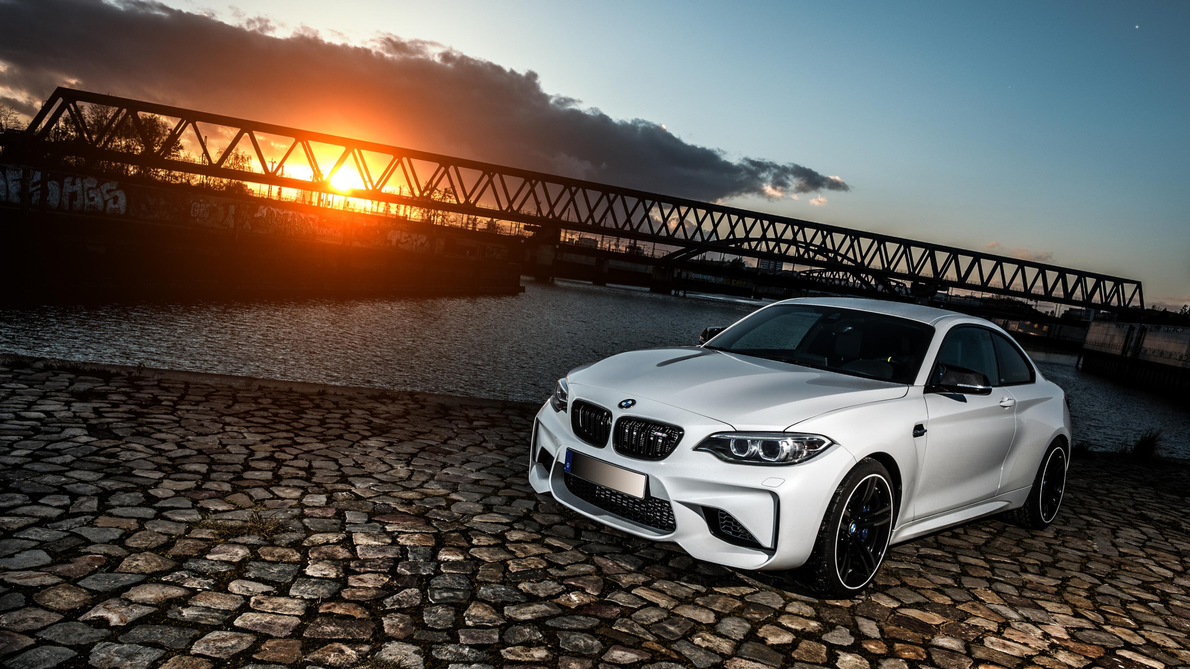 White BMW M2 car on sunset background Desktop wallpapers ...