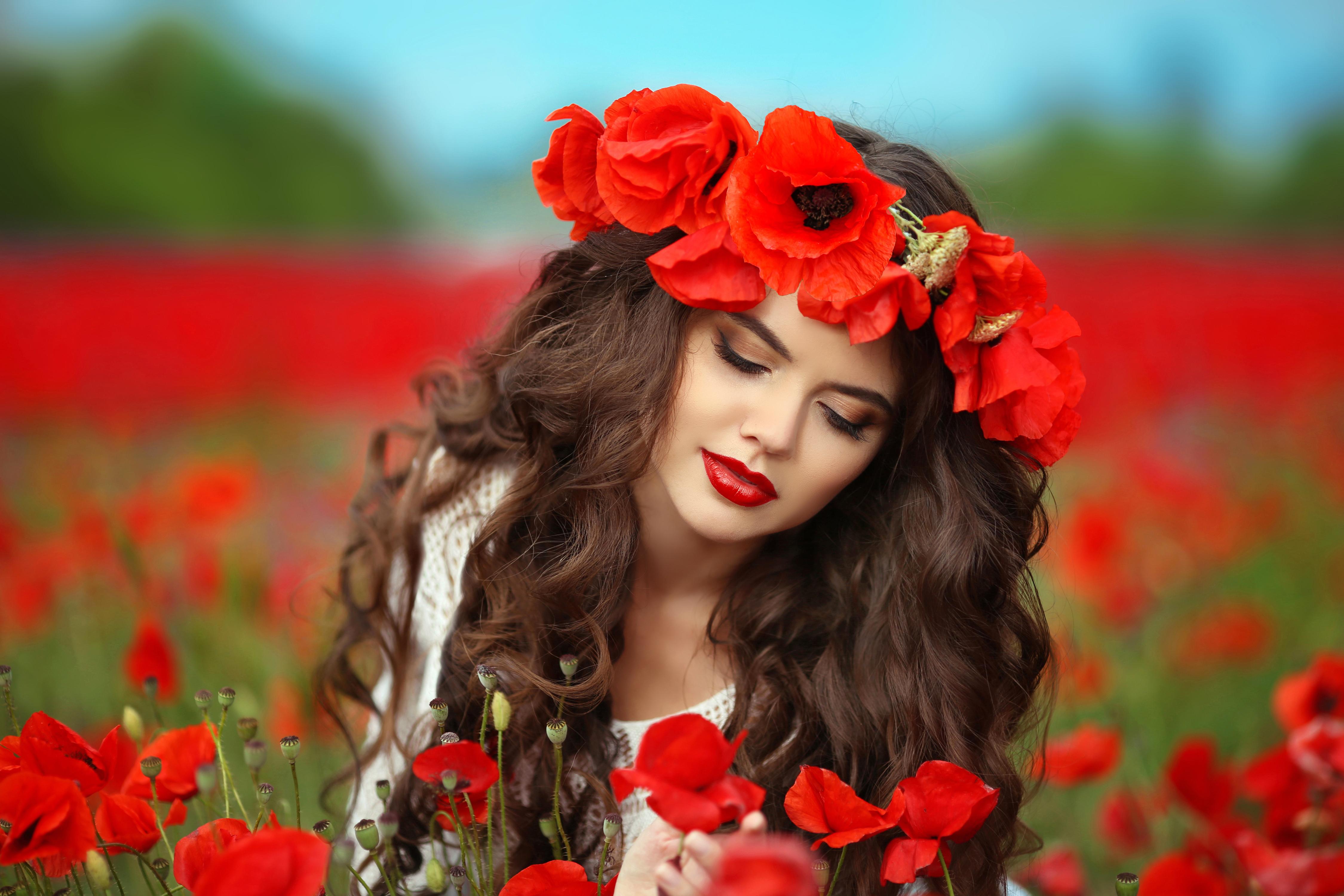 Картинки женщина и цветы