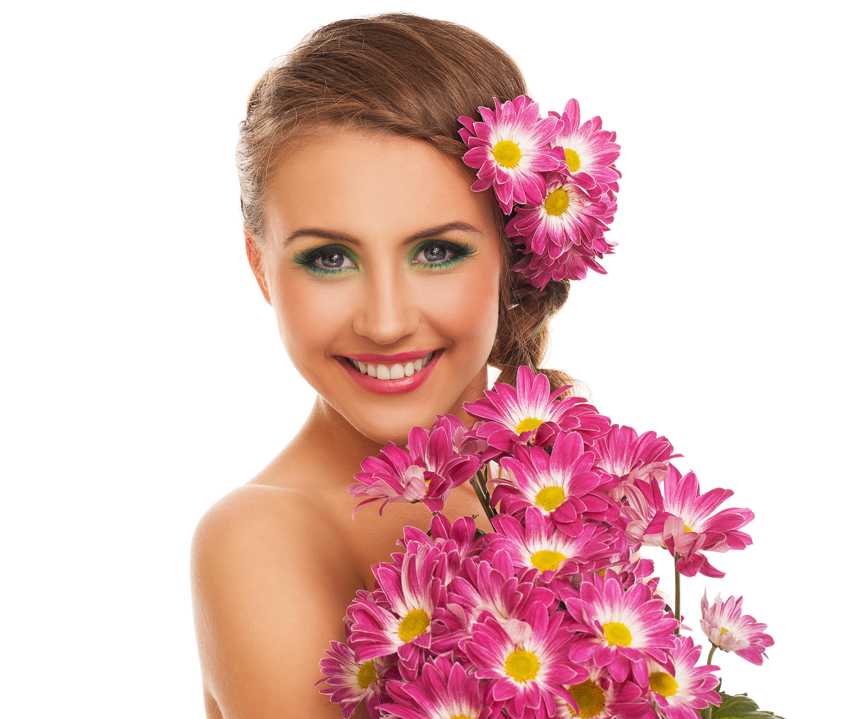 Открытки женщины с цветами