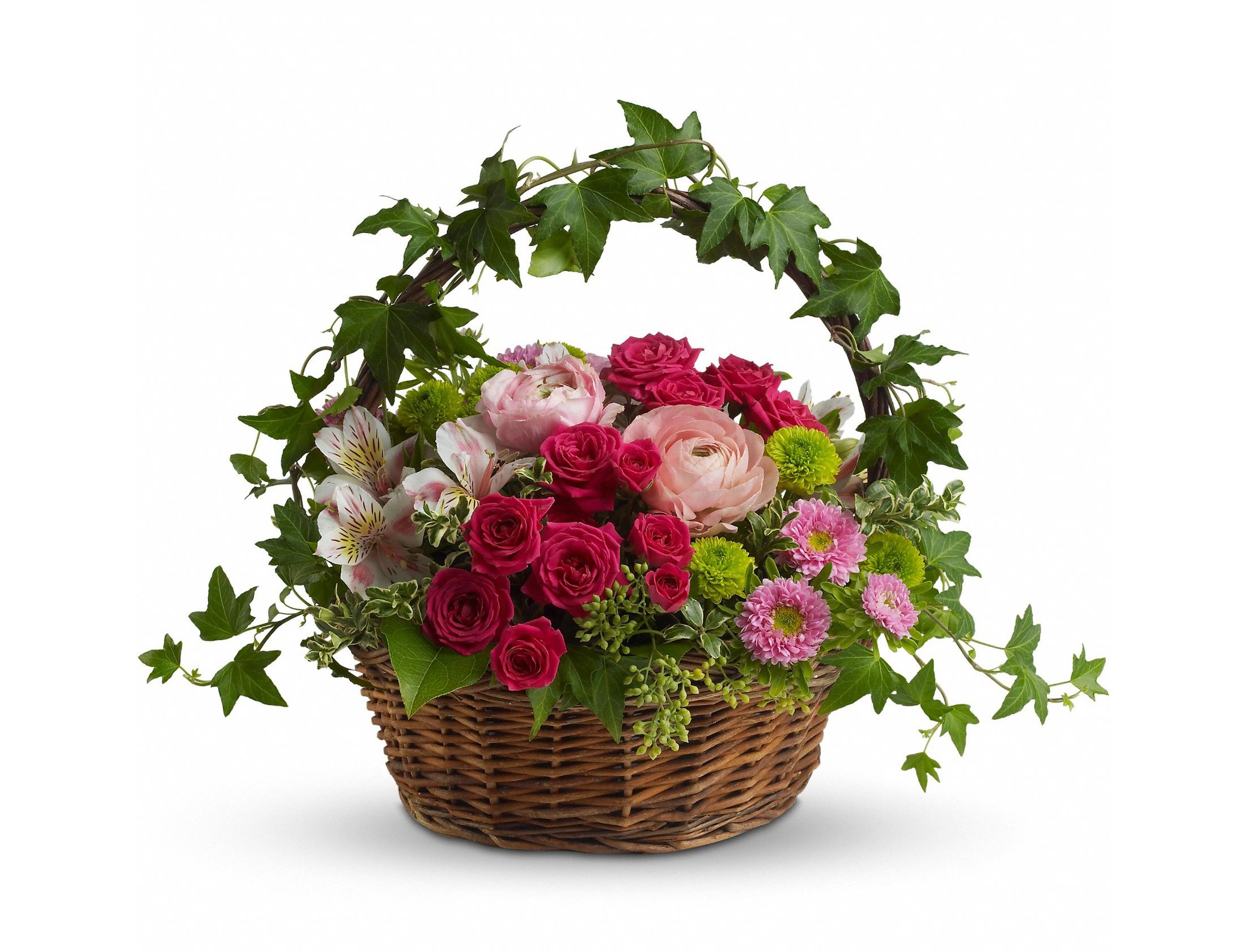 Корзина цветов с днем рождения картинки