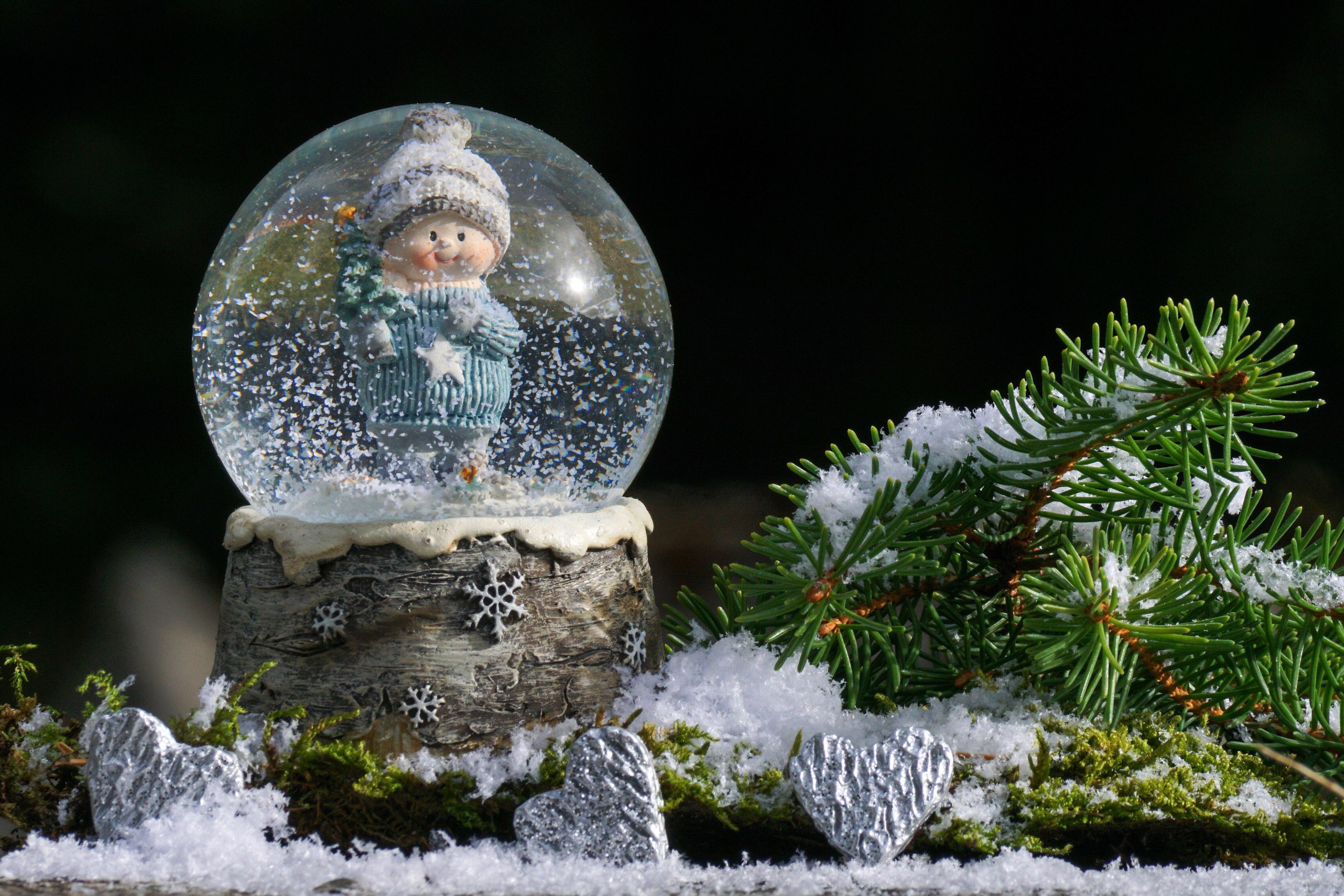Открытки печать, открытка шар со снегом