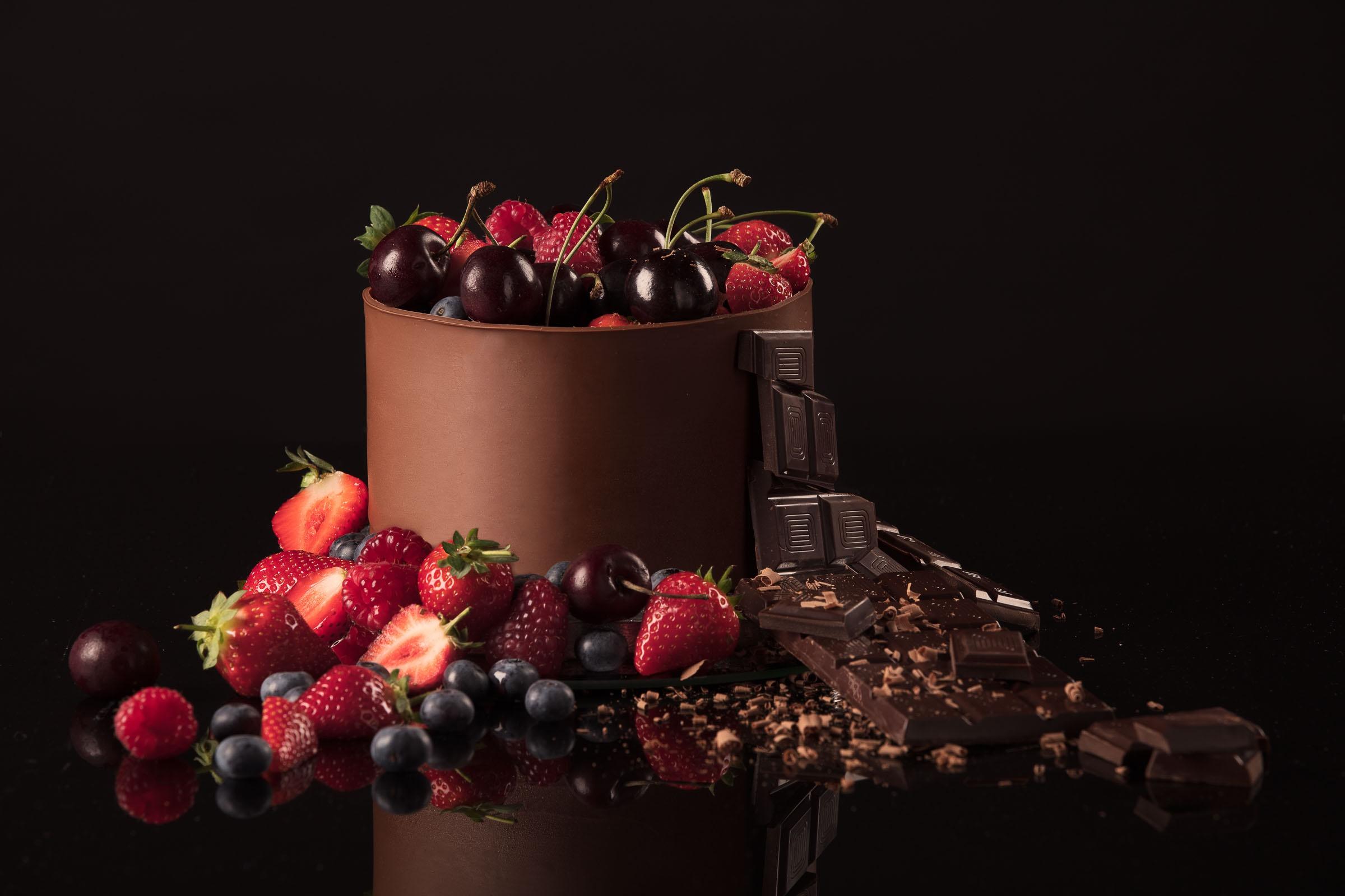 Картинки фрукты с шоколадом