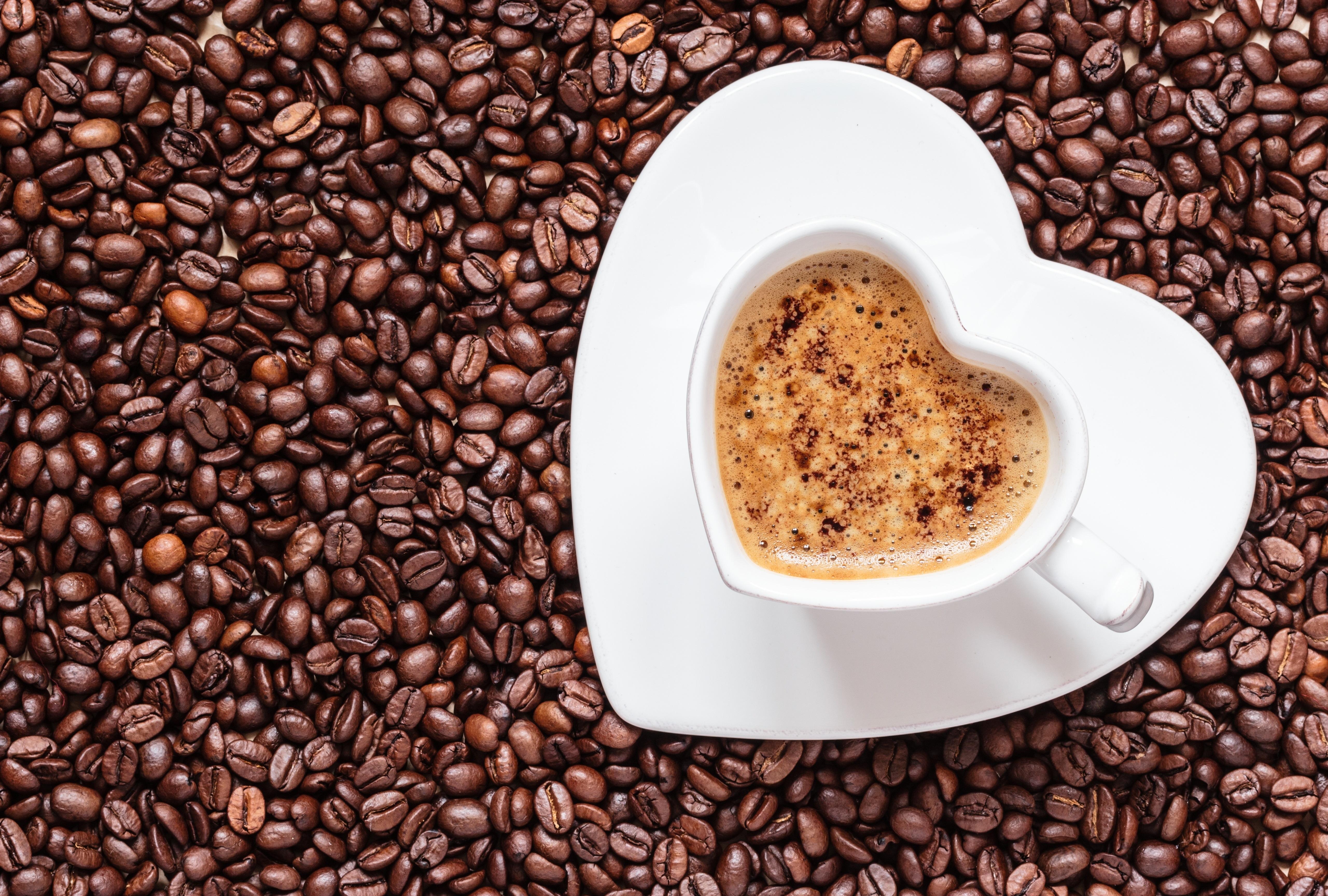 Картинки с чашкой кофе и зернами