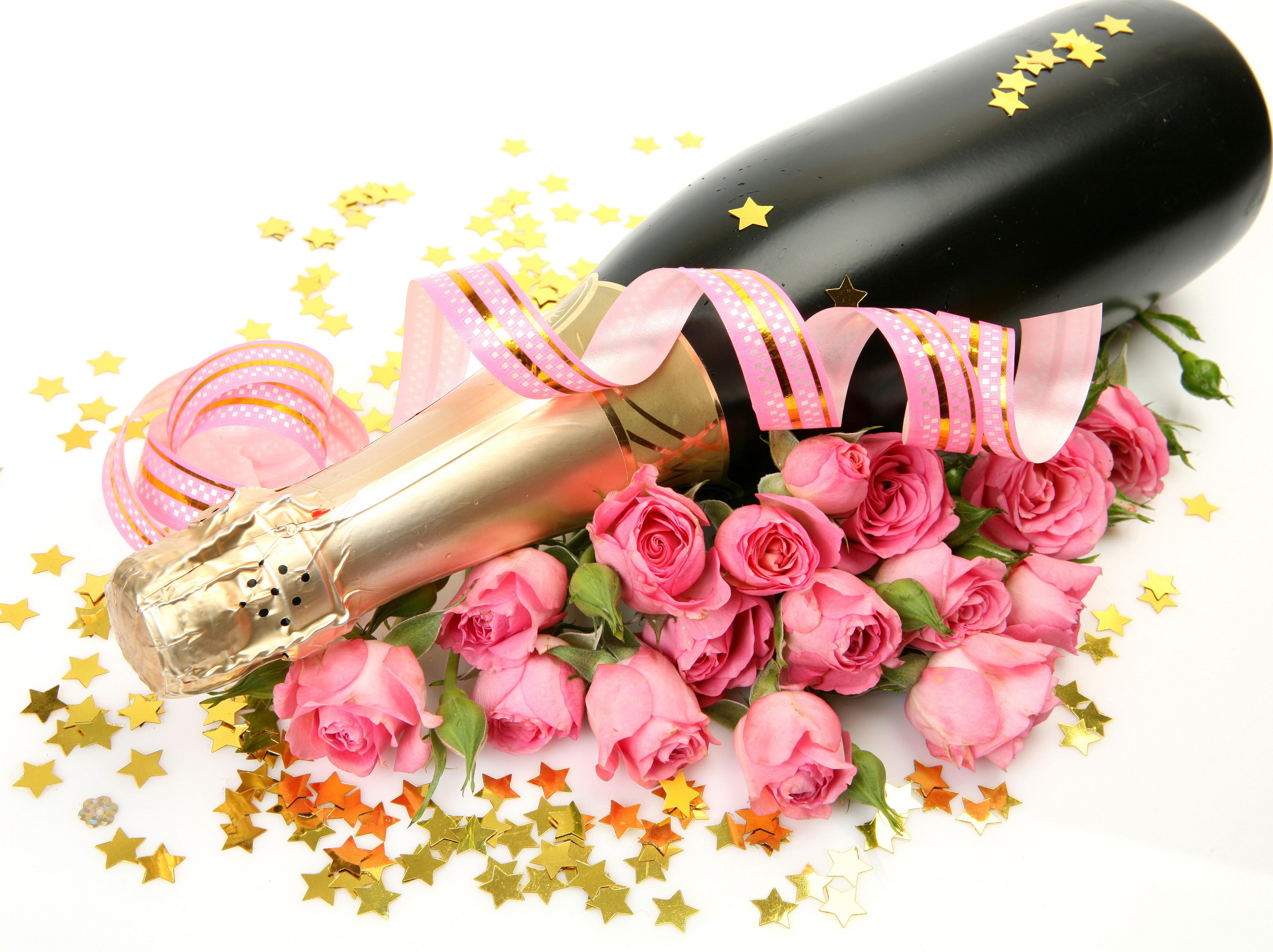 Открытки с розами и шампанским, для дня учителя