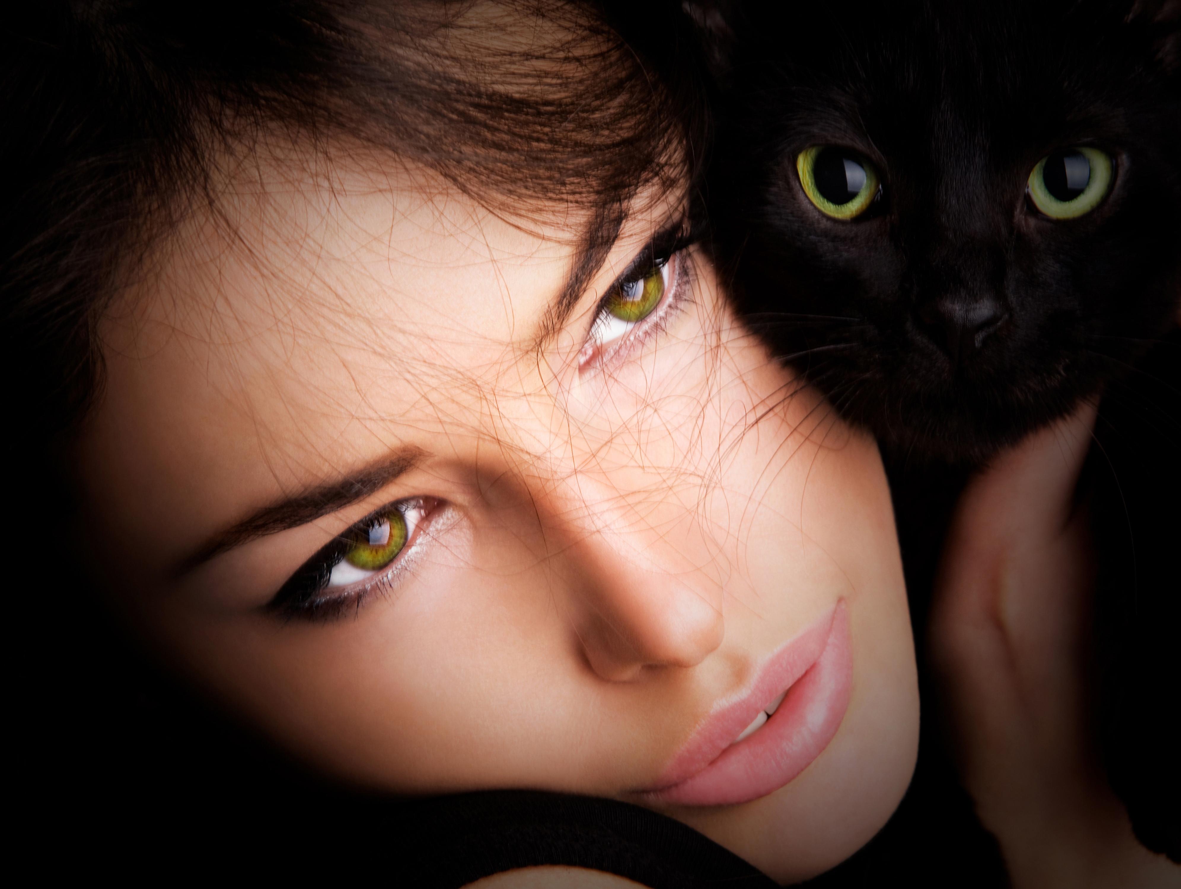 Черная кошка девушка фото
