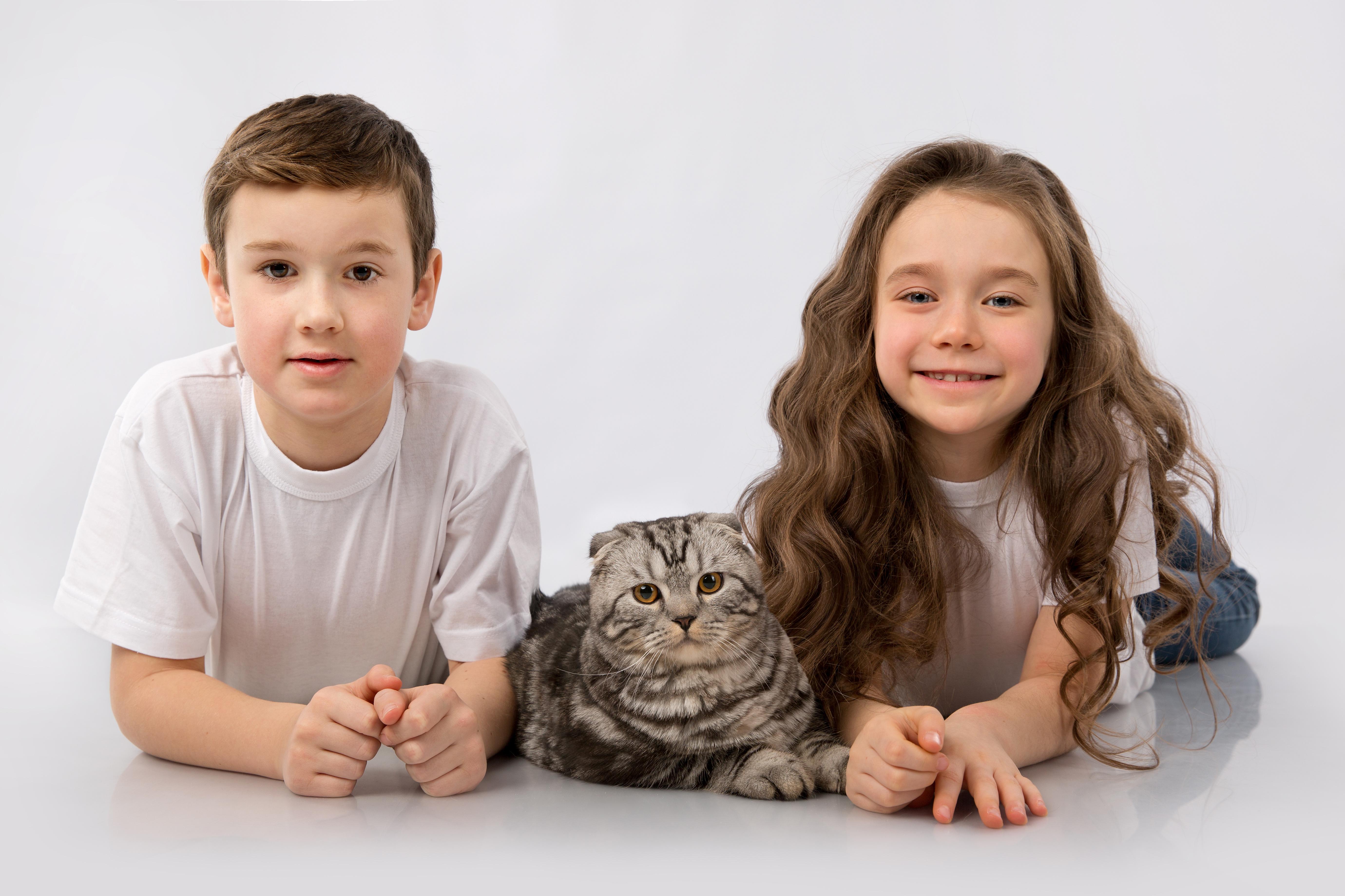 Картинка котик девочка и мальчик